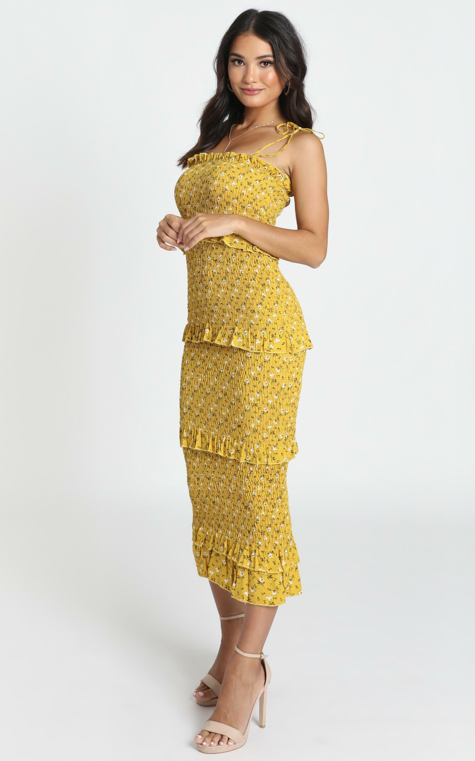 My Favourite Thing Shirred Midi Dress in mustard floral - 6 (XS), Mustard, hi-res image number null