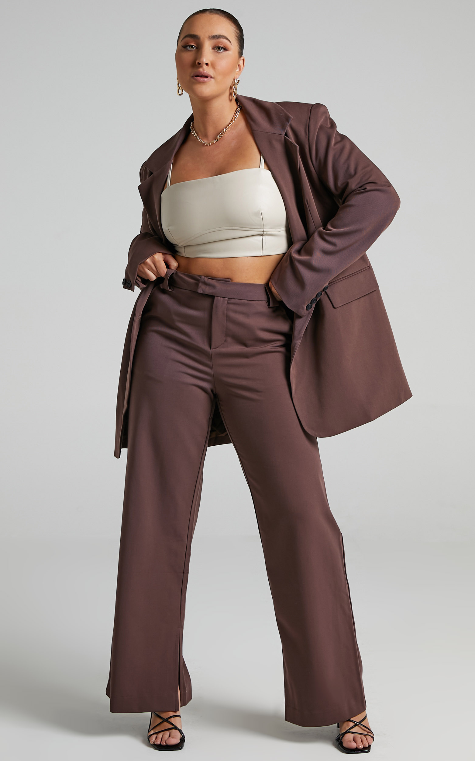 Kitty Oversized Blazer in Chocolate - 04, BRN2, hi-res image number null
