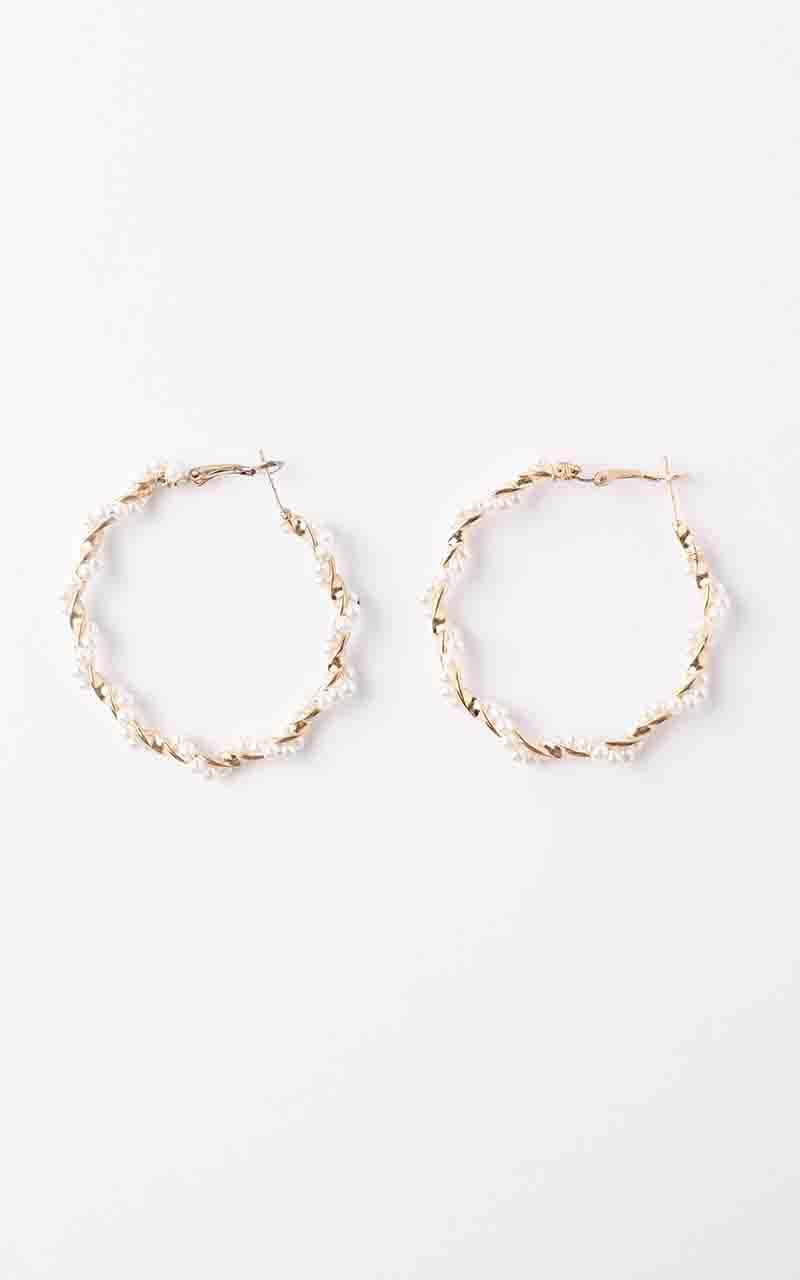 Bigger Plan Hoop Earrings in Gold and Pearl, , hi-res image number null