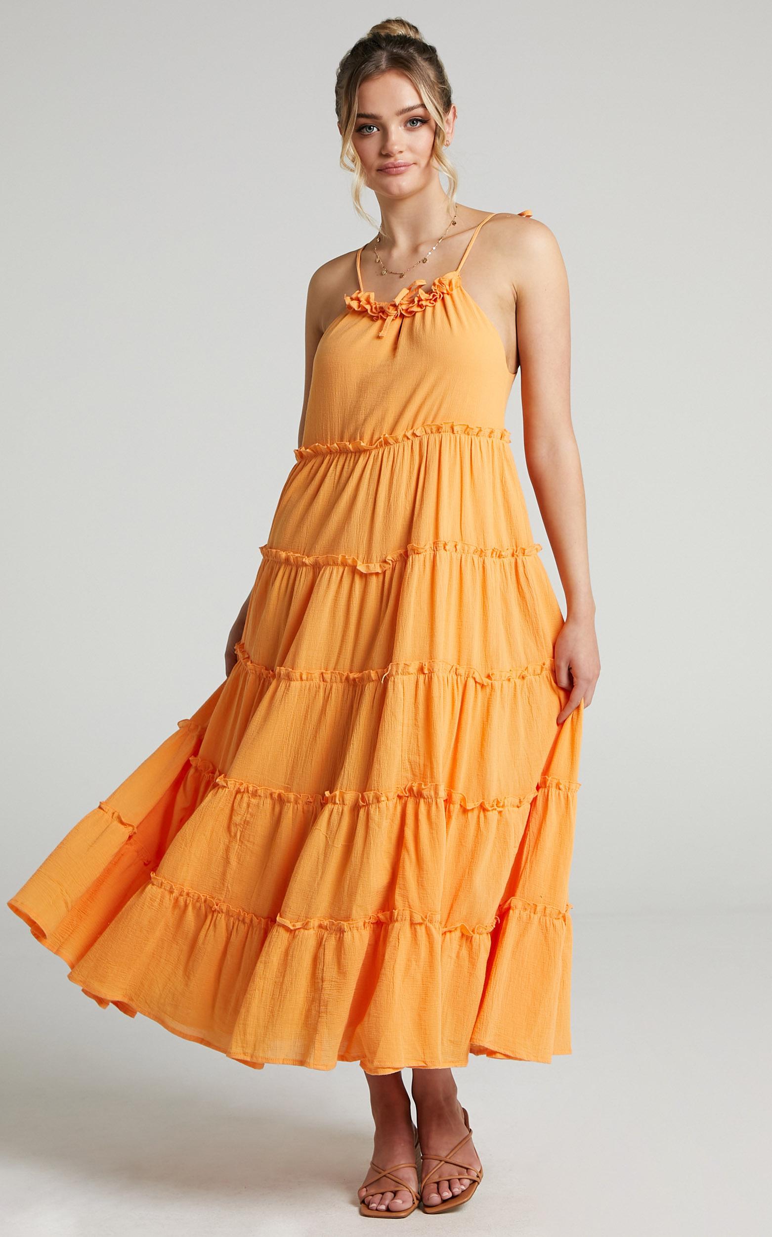 Charlie Holiday - Senorita Maxi Dress in Apricot - 06, ORG1, hi-res image number null
