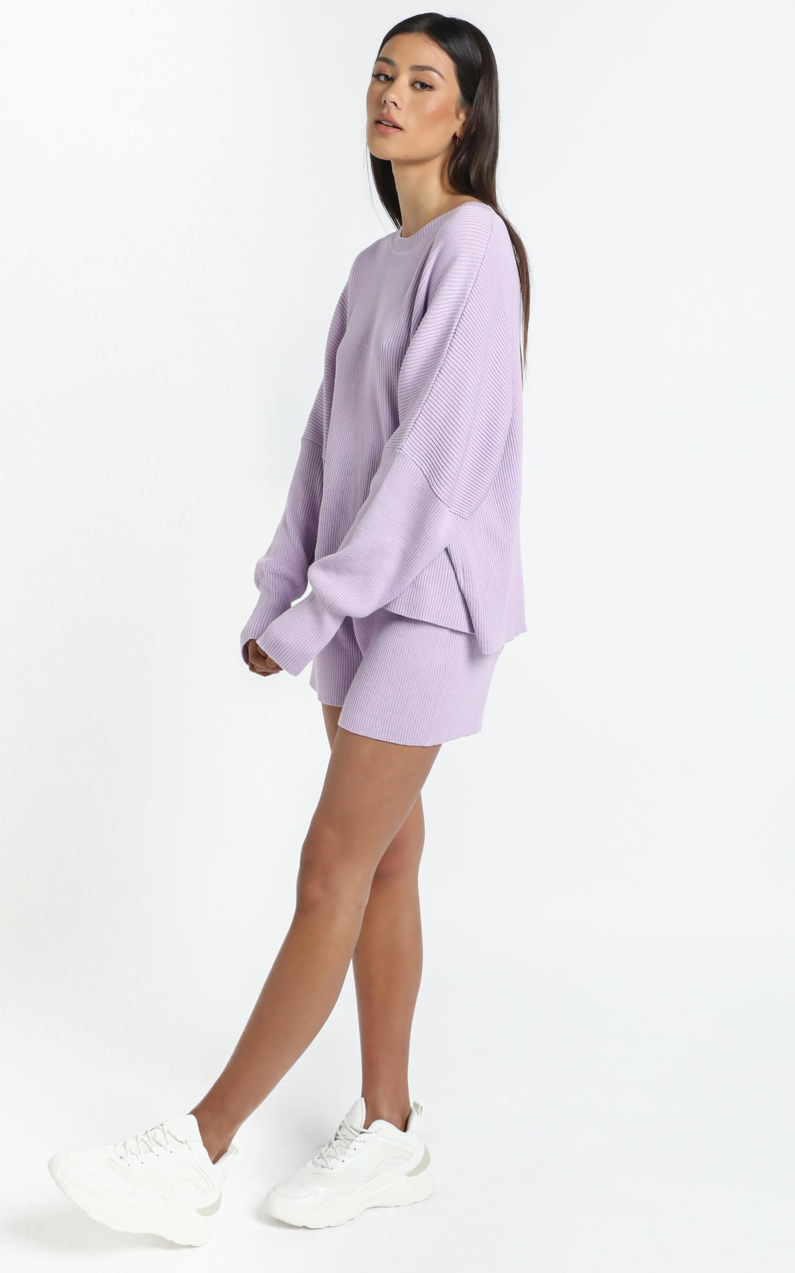 Lullaby Club - Alex Knit Sweater in Periwinkle - L/XL, Purple, hi-res image number null