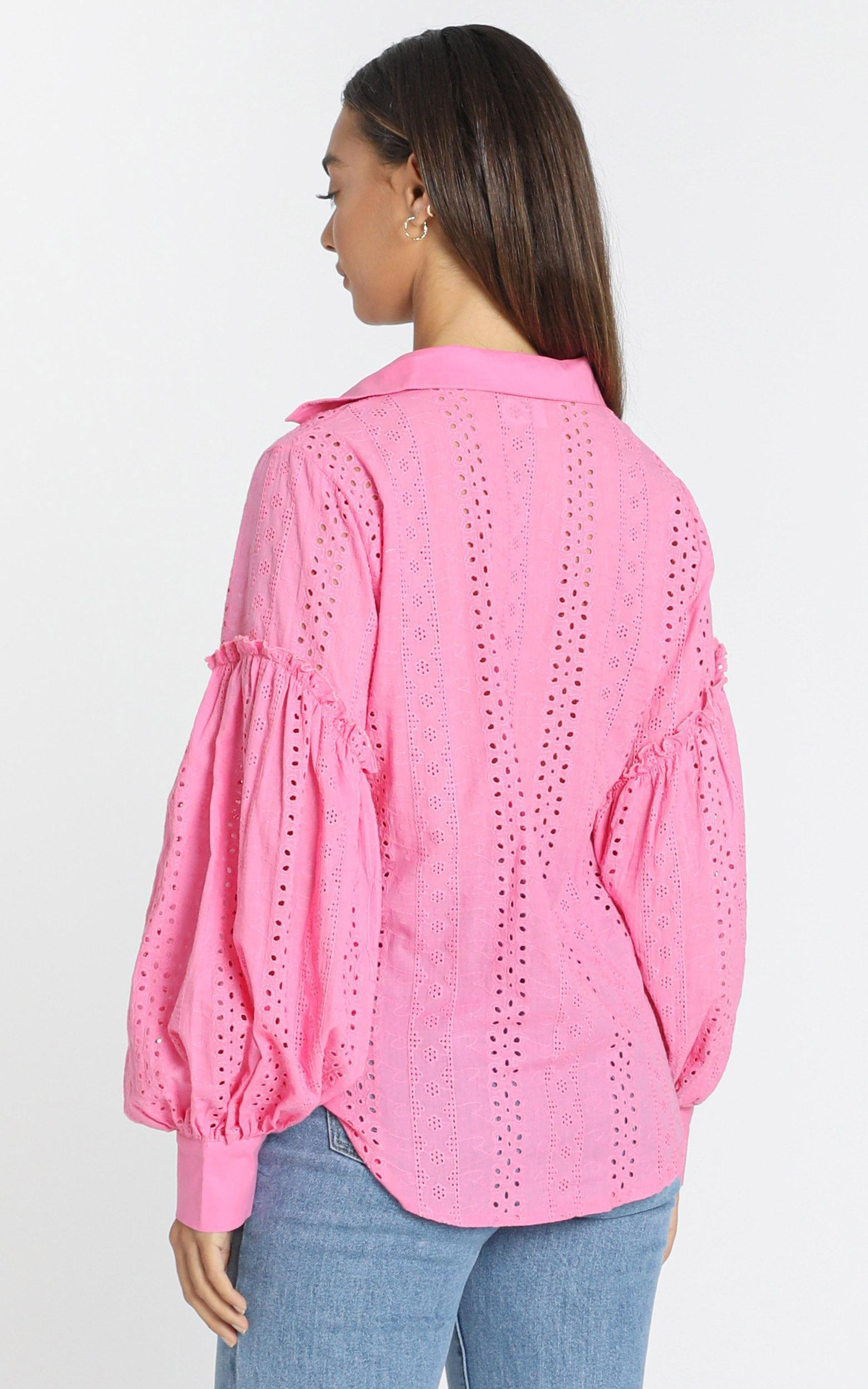 Beautiful Things embroidery shirt in hot pink - 14 (XL), Pink, hi-res image number null