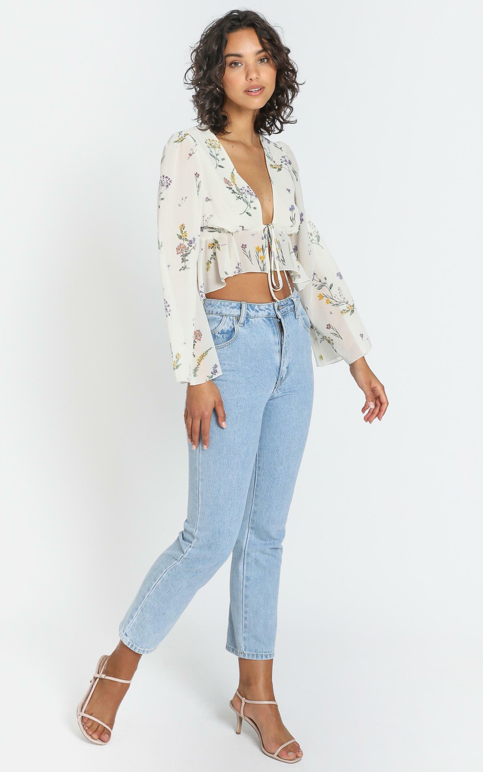 Dance It Out Top in botanical floral - 4 (XXS), White, hi-res image number null