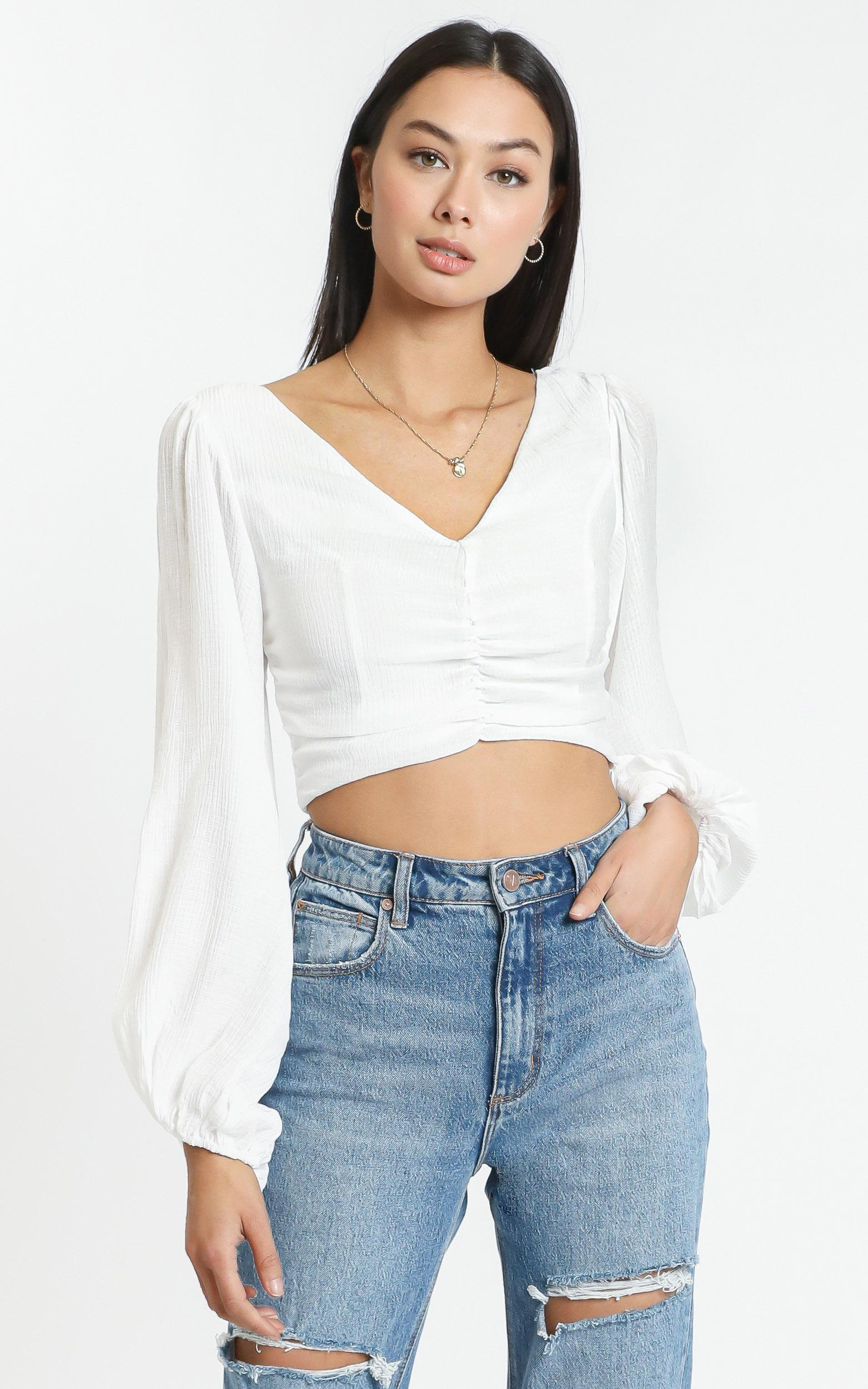 Everly Top in White - 12 (L), WHT1, hi-res image number null