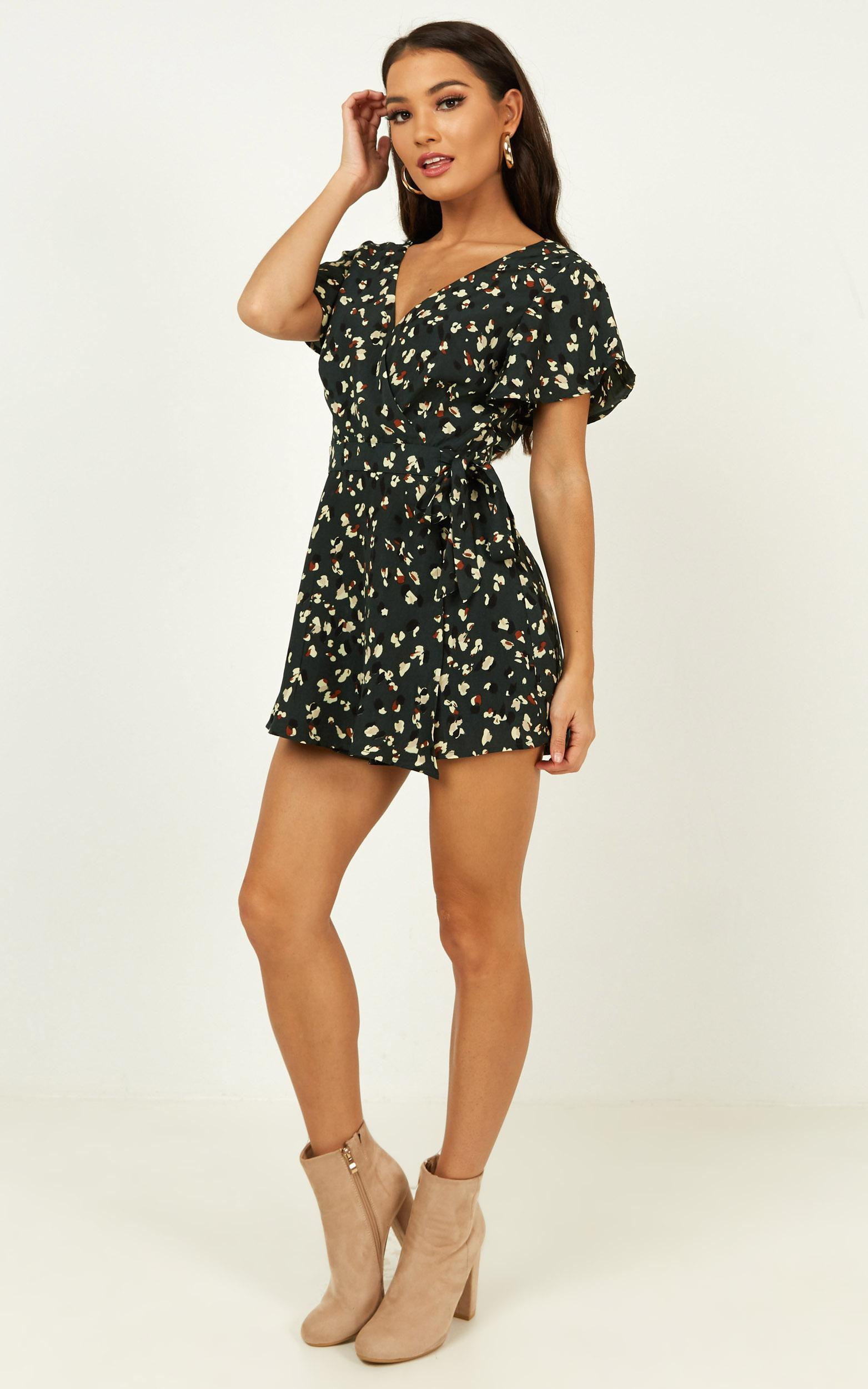 Gazey Eyes Playsuit in forest green leopard print - 12 (L), Green, hi-res image number null