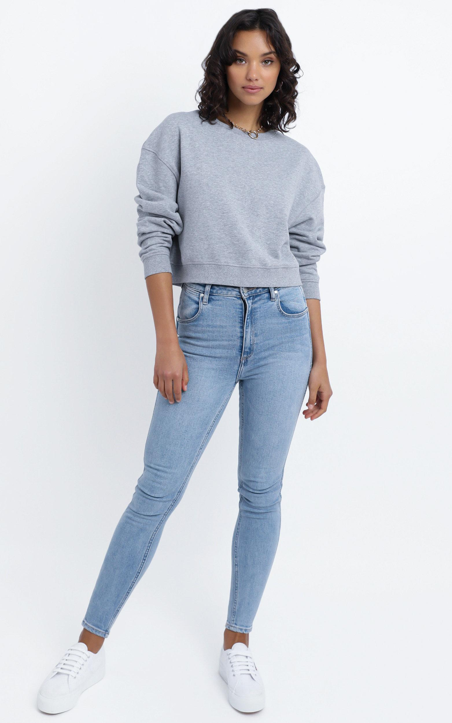 AS Colour - Crop Crew in Grey Marle - XL, Grey, hi-res image number null