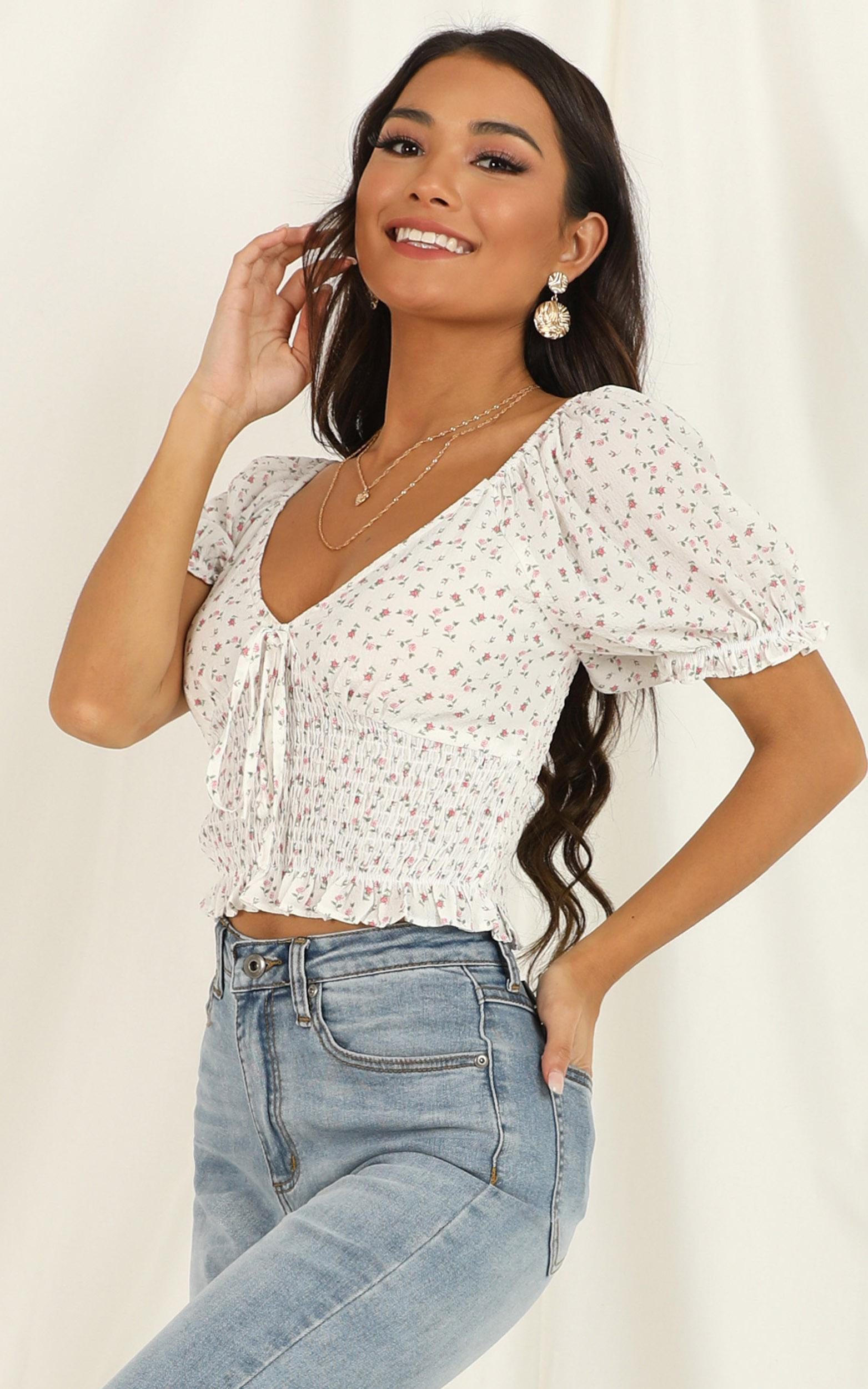 In Your Dreams Top In White Floral - 14 (XL), White, hi-res image number null