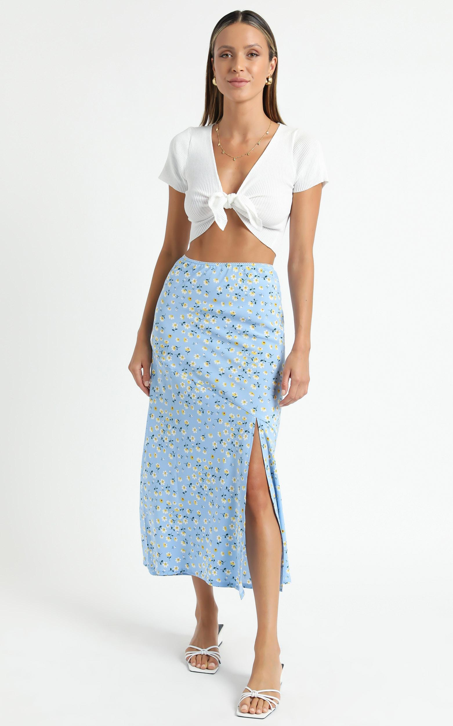 Massachusetts Skirt in Blue Floral - 6 (XS), Blue, hi-res image number null