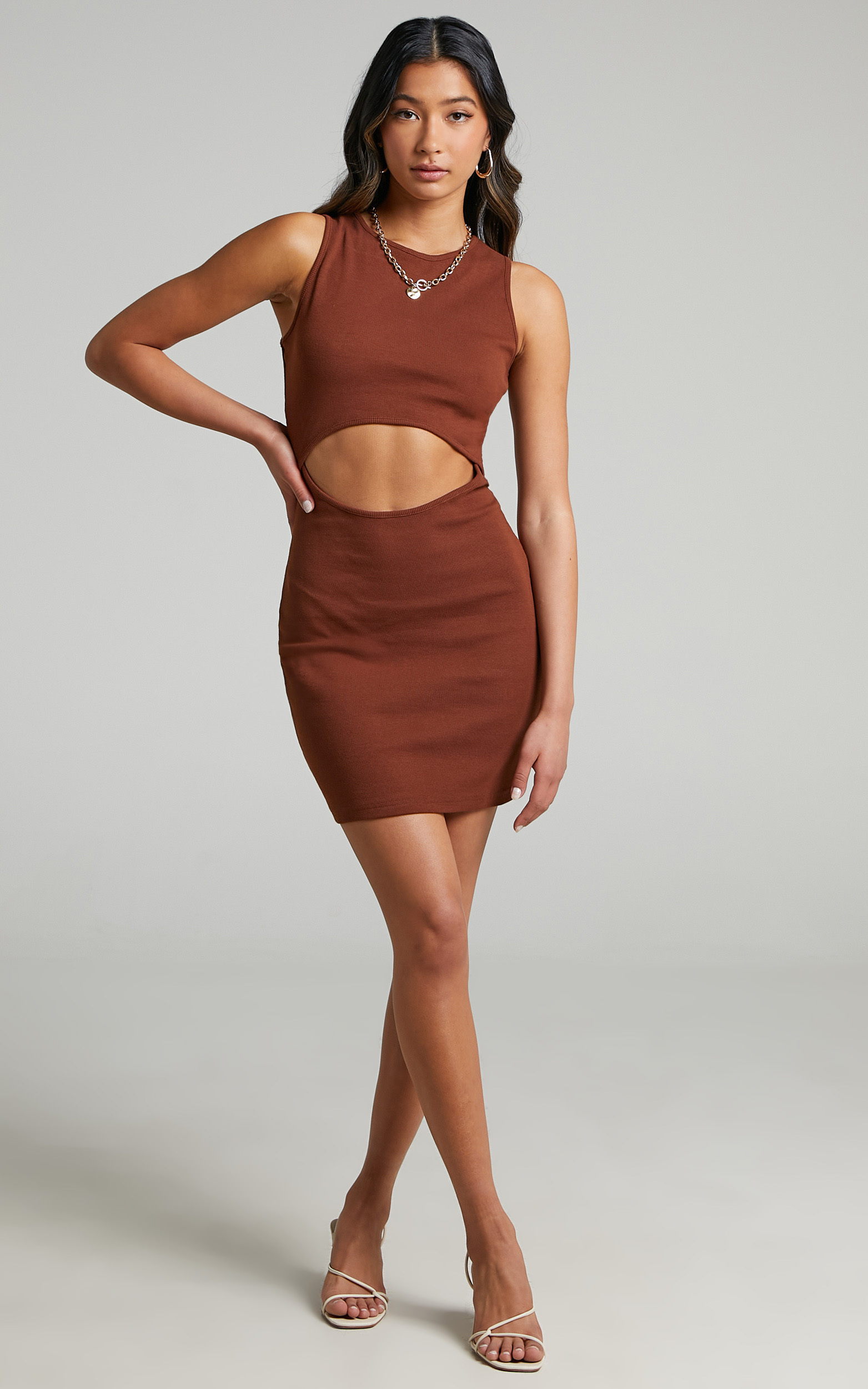Trinity Bodycon cut out mini dress in Chocolate - 06, BRN2, hi-res image number null