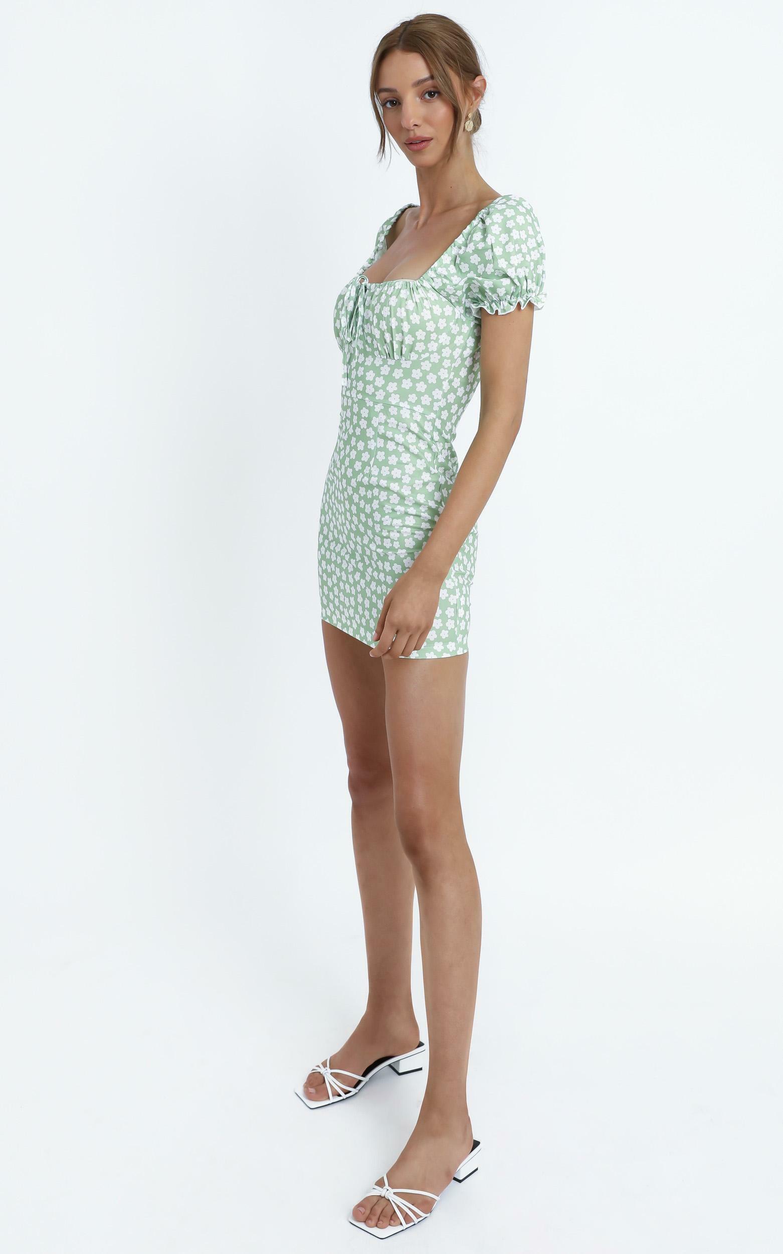 Carolina Dress in Green Floral - 12 (L), Green, hi-res image number null