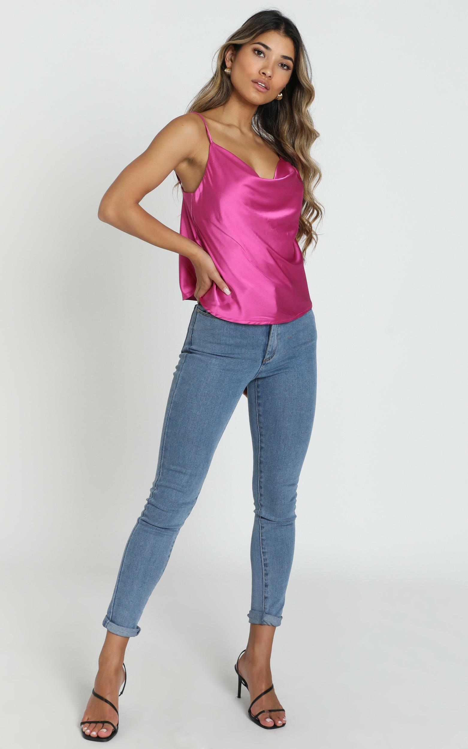Straight Line Top in hot pink satin - 20 (XXXXL), Pink, hi-res image number null
