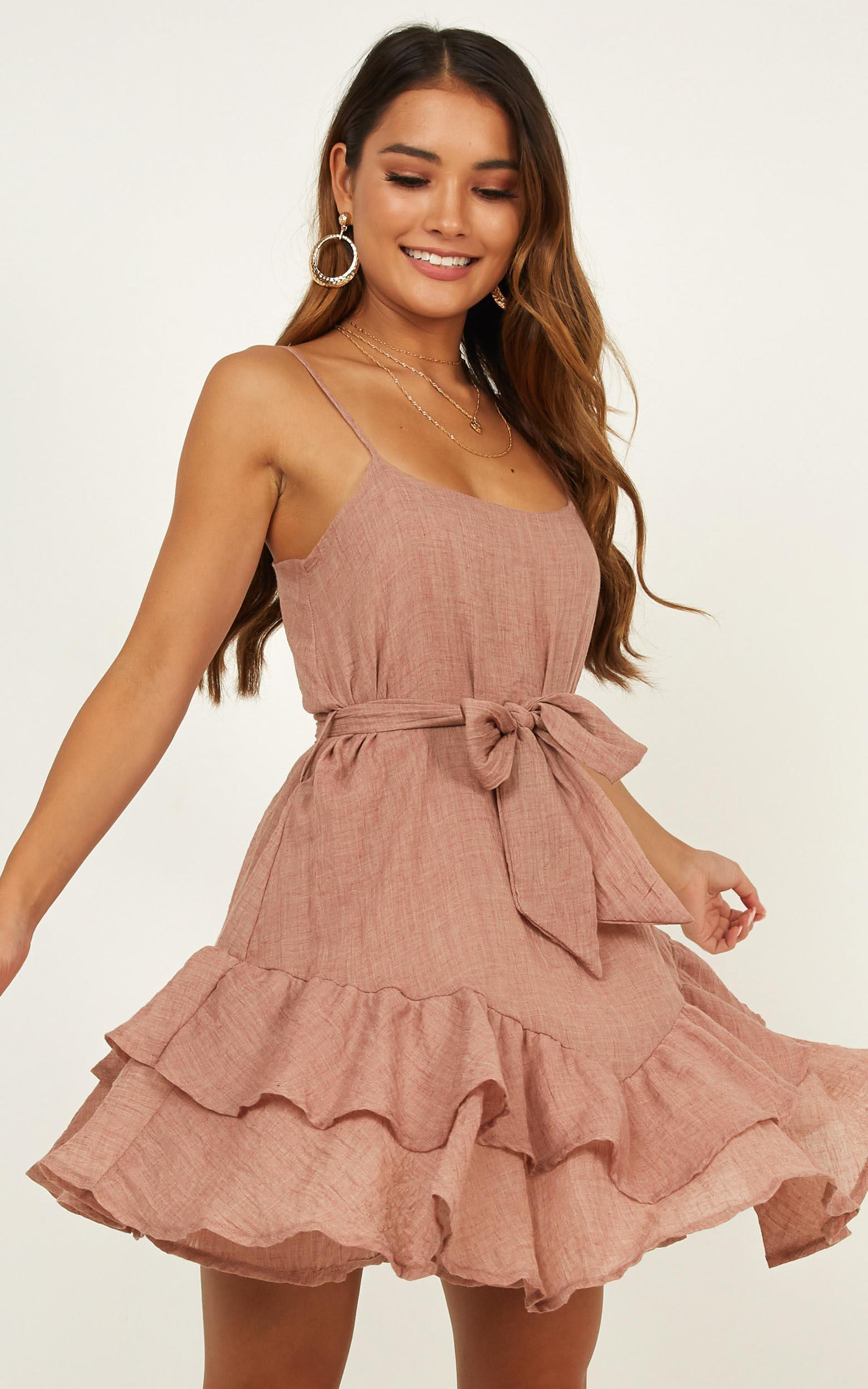 Lady Powers dress in mocha linen look - 12 (L), Mocha, hi-res image number null