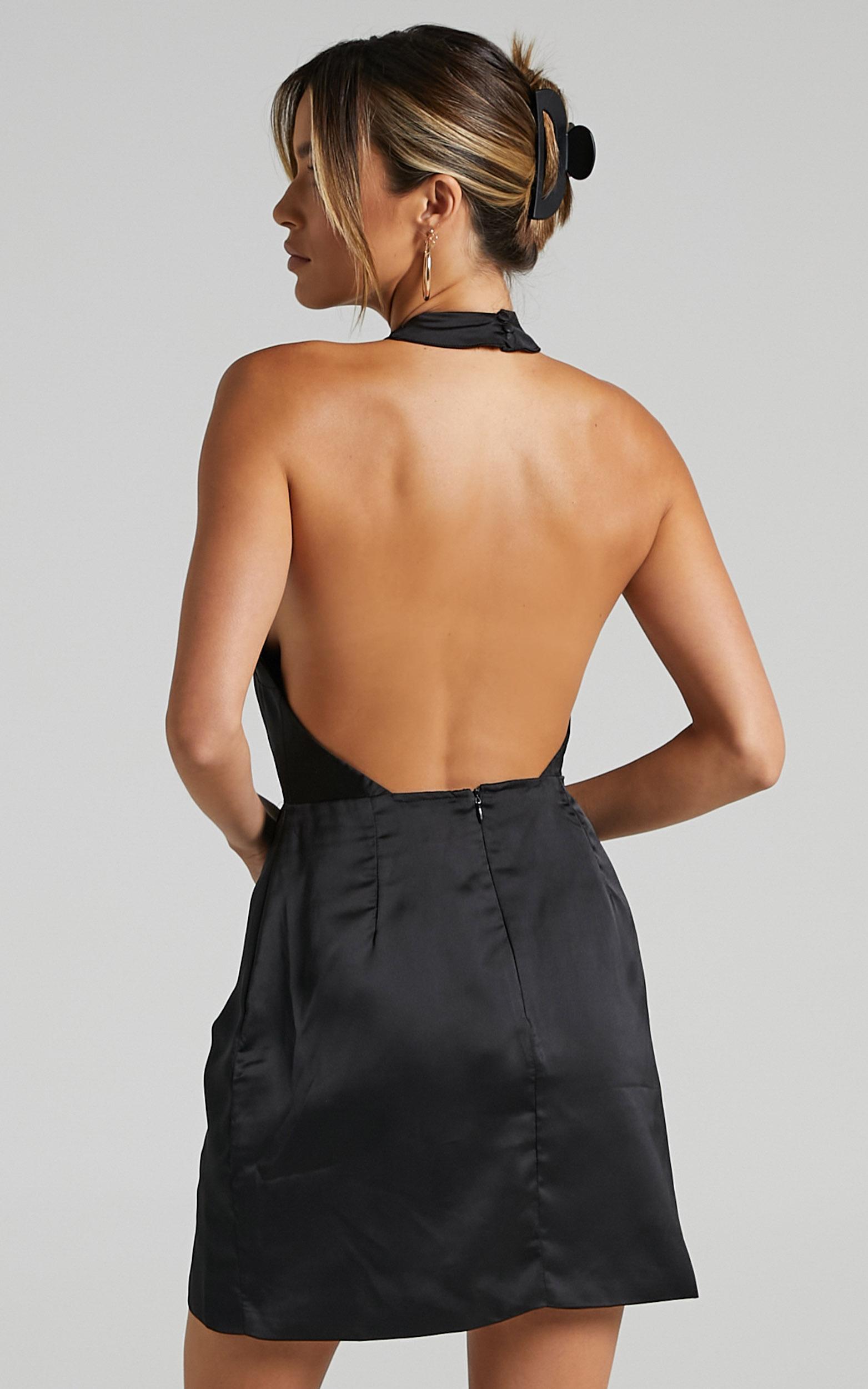 Cardea Dress in Black Satin - 6 (XS), Black, hi-res image number null