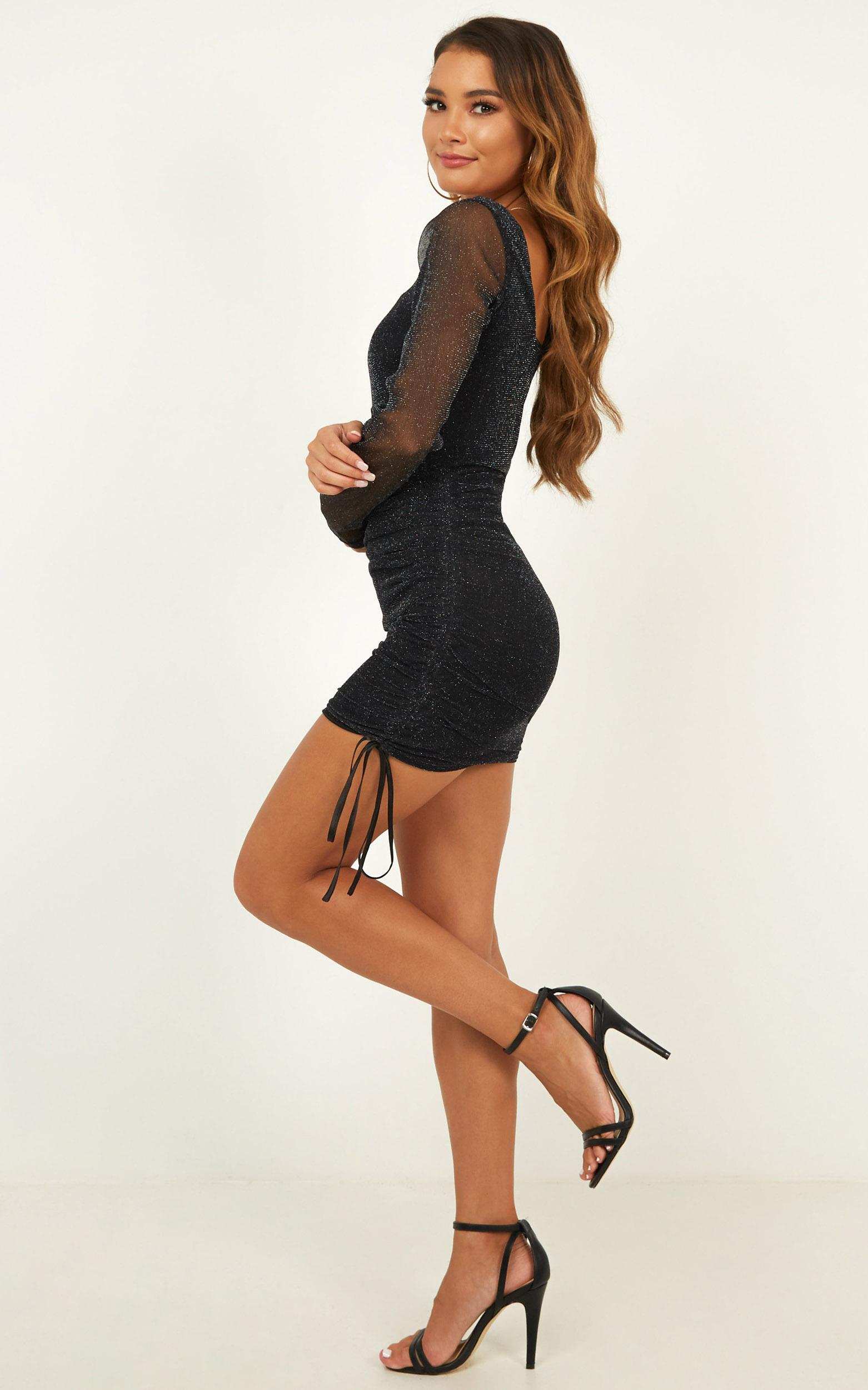 Want To See What You Got Dress in Black Mesh Lurex - 20 (XXXXL), Black, hi-res image number null
