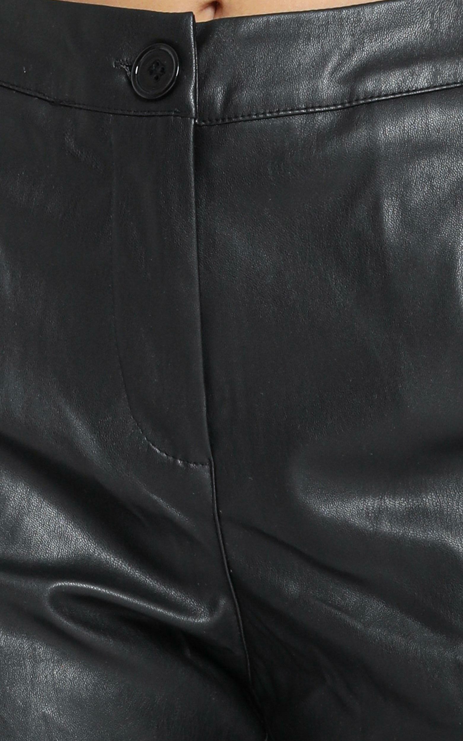 Owen Pants in Black Leatherette - 6 (XS), Black, hi-res image number null