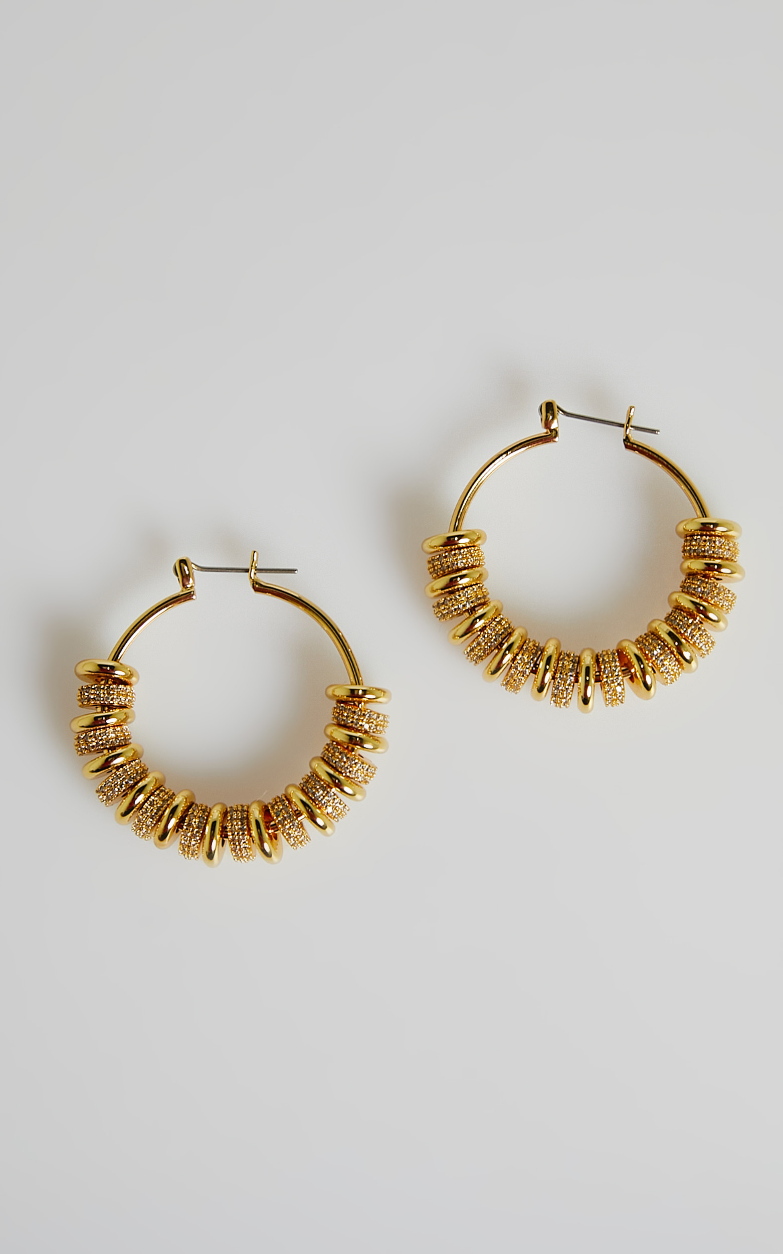 Luv AJ - Pave Washer Hoops in Gold - OneSize, GLD1, hi-res image number null