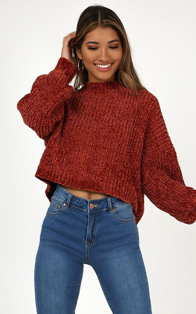 Little Do You Know Knit sweater In Rust Chenille - L/XL, Rust, hi-res image number null