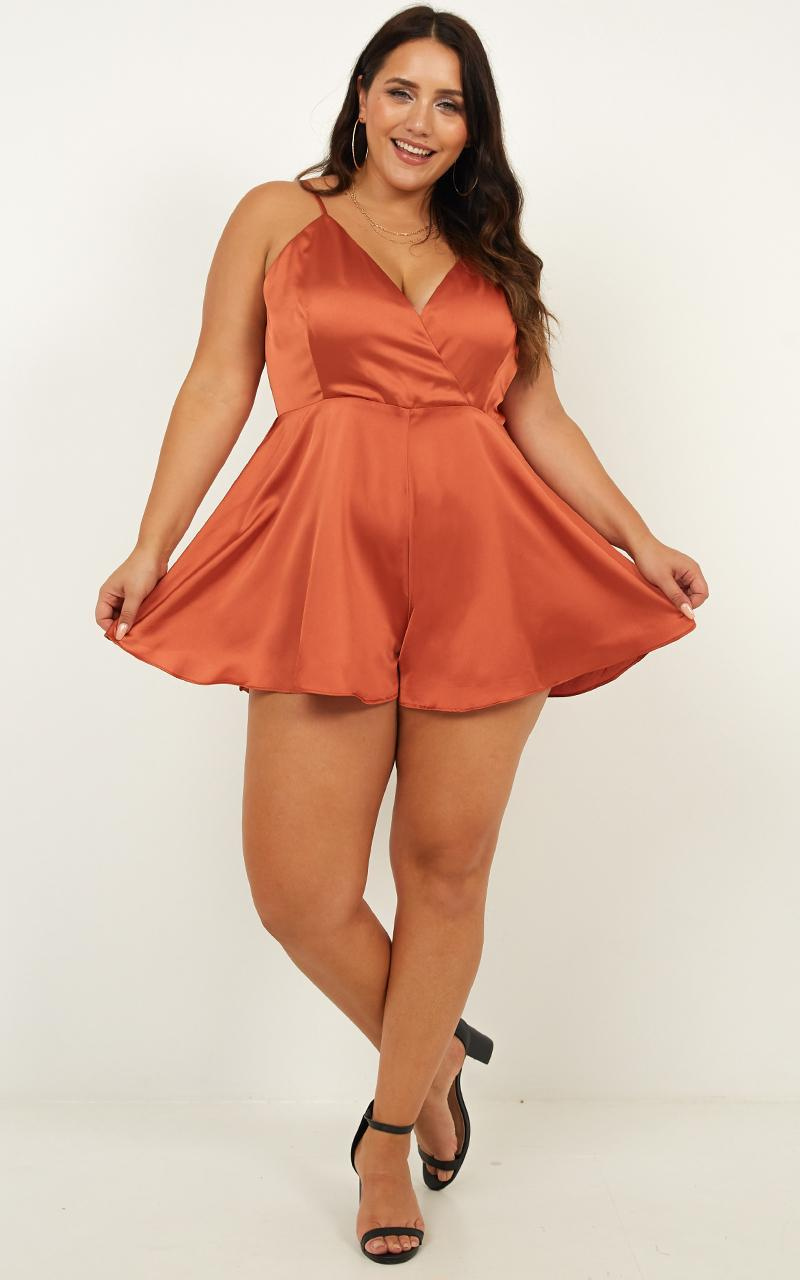 Shes Got This  Playsuit in rust satin - 20 (XXXXL), Rust, hi-res image number null