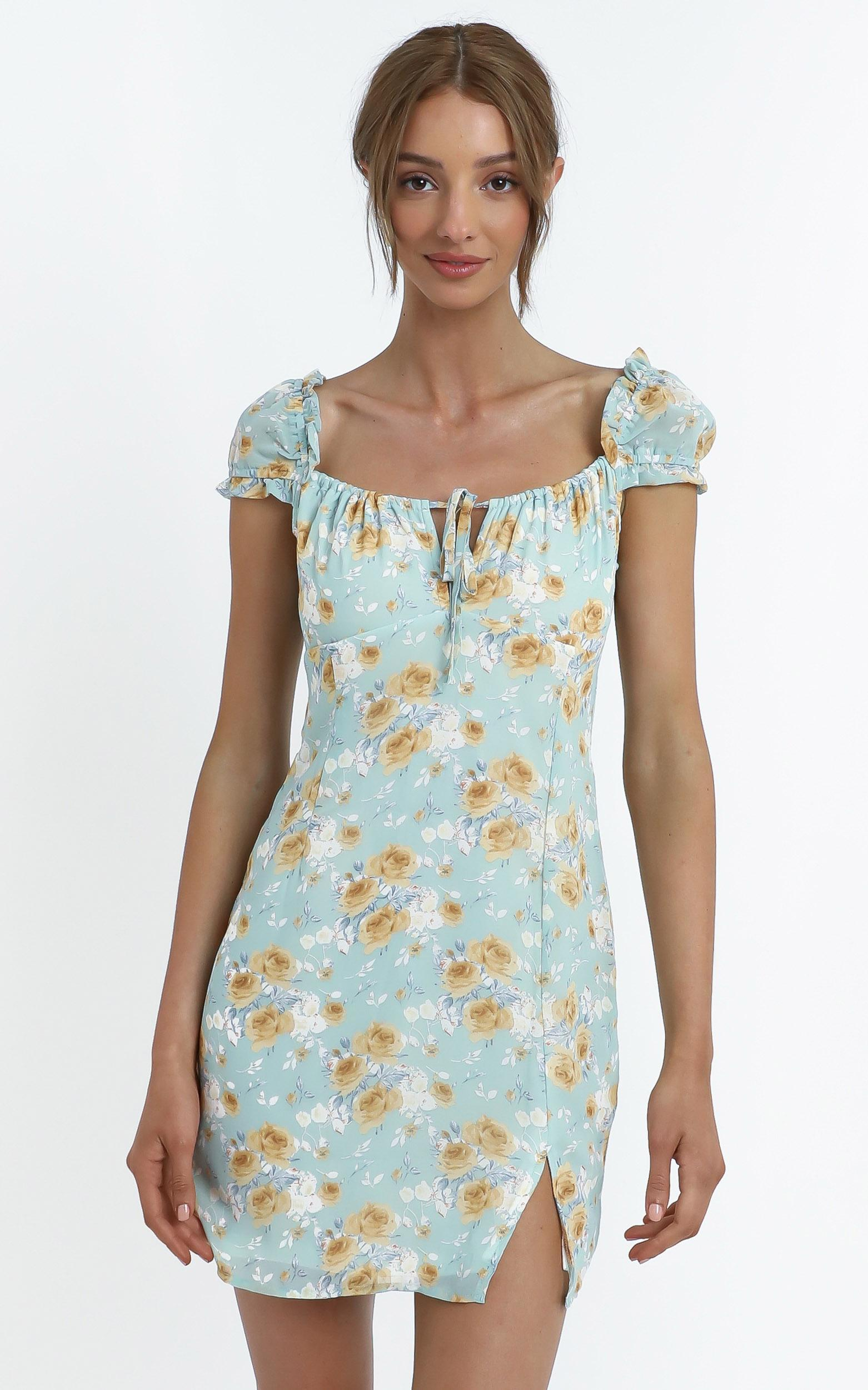 Chadwick Dress in Teal Floral - 14 (XL), Blue, hi-res image number null