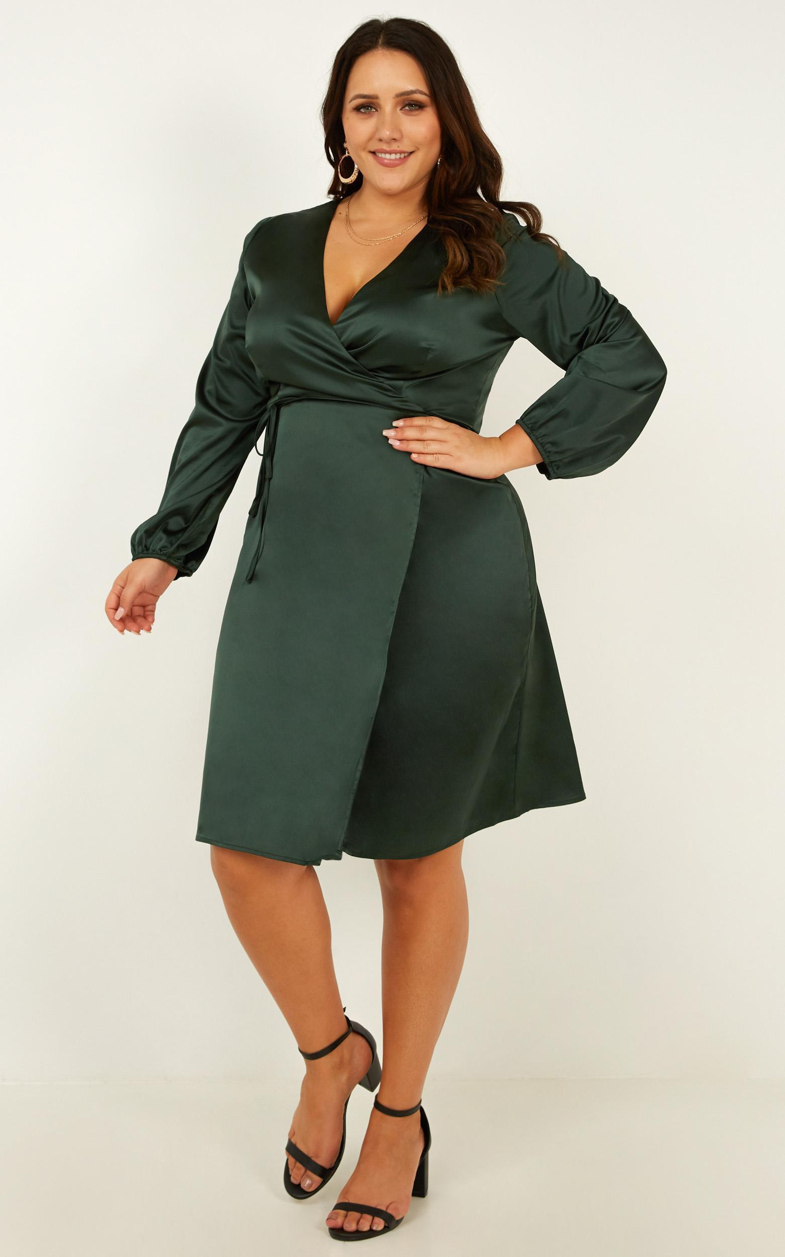 Half A Million Dress in emerald satin - 12 (L), Green, hi-res image number null