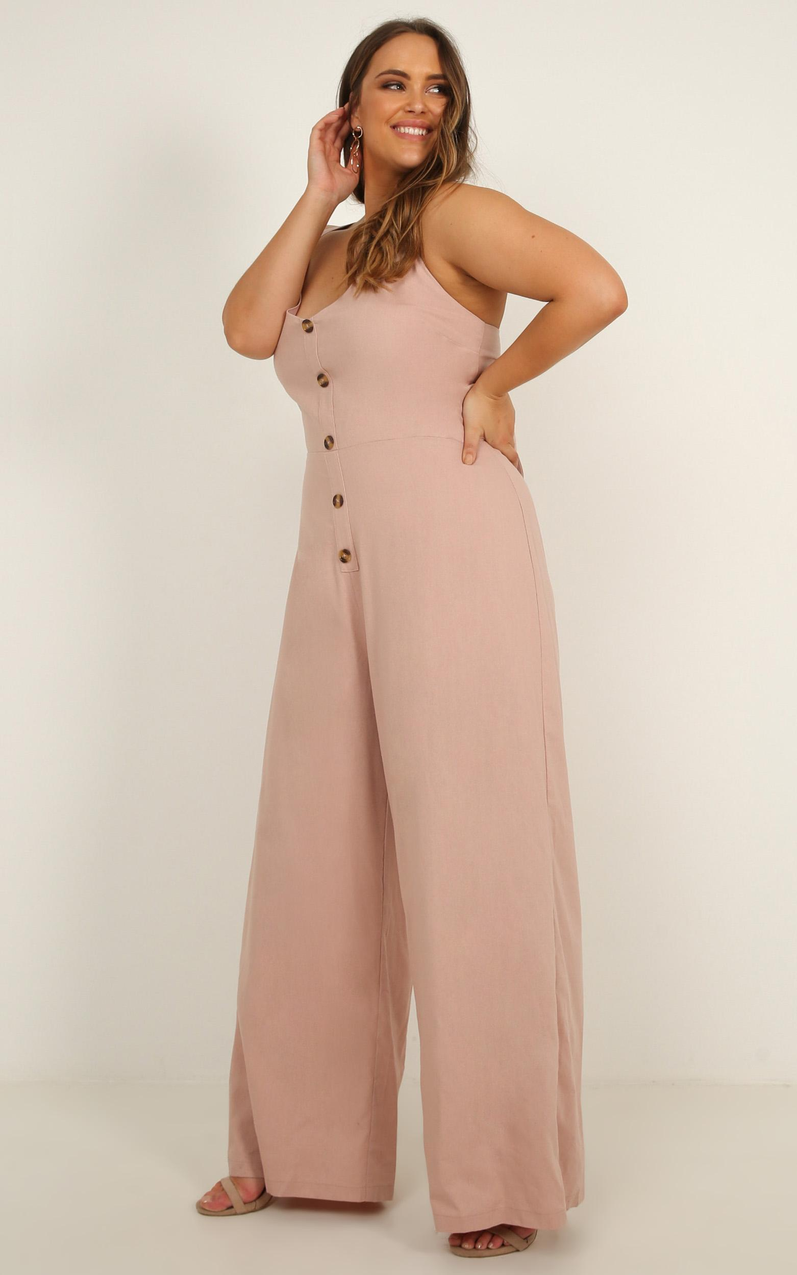Looking out for you Jumpsuit in blush linen - 20 (XXXXL), Blush, hi-res image number null