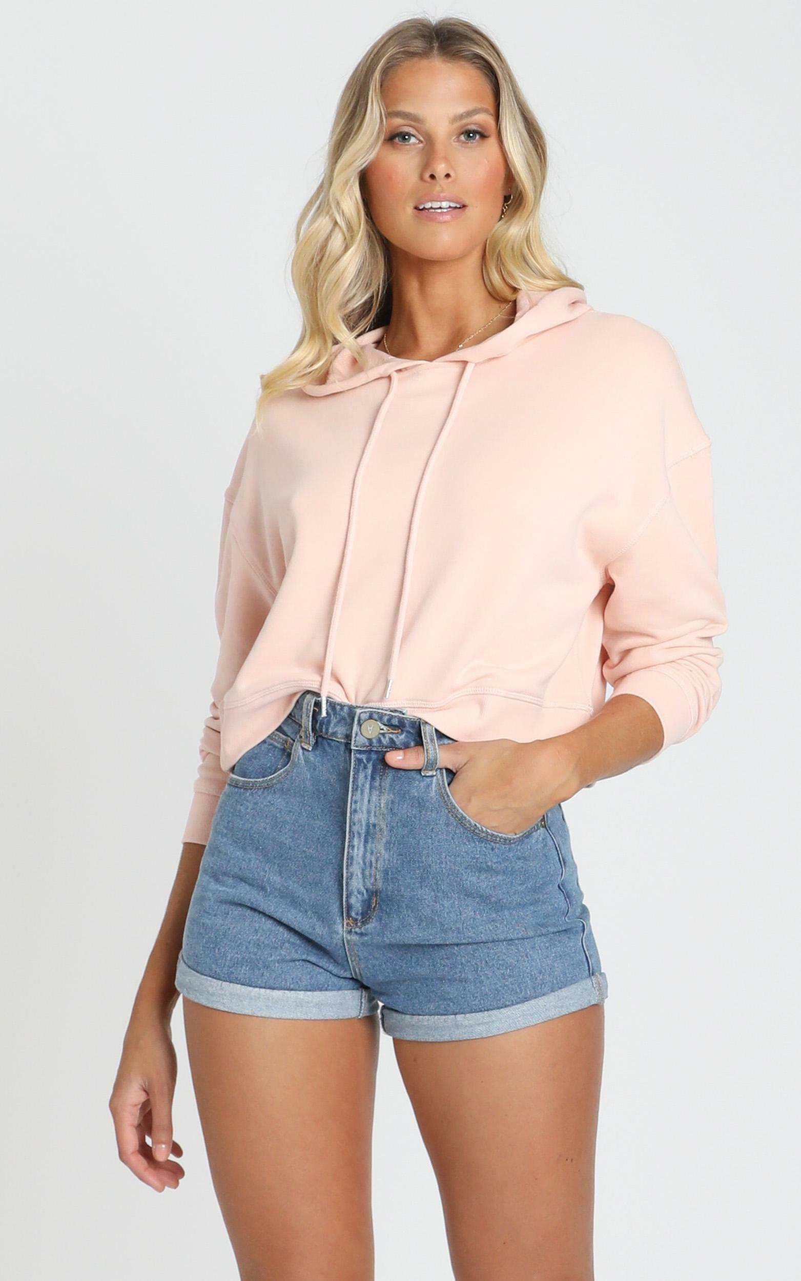 AS Colour - Crop Hood in Pale Pink - 6 (XS), Pink, hi-res image number null