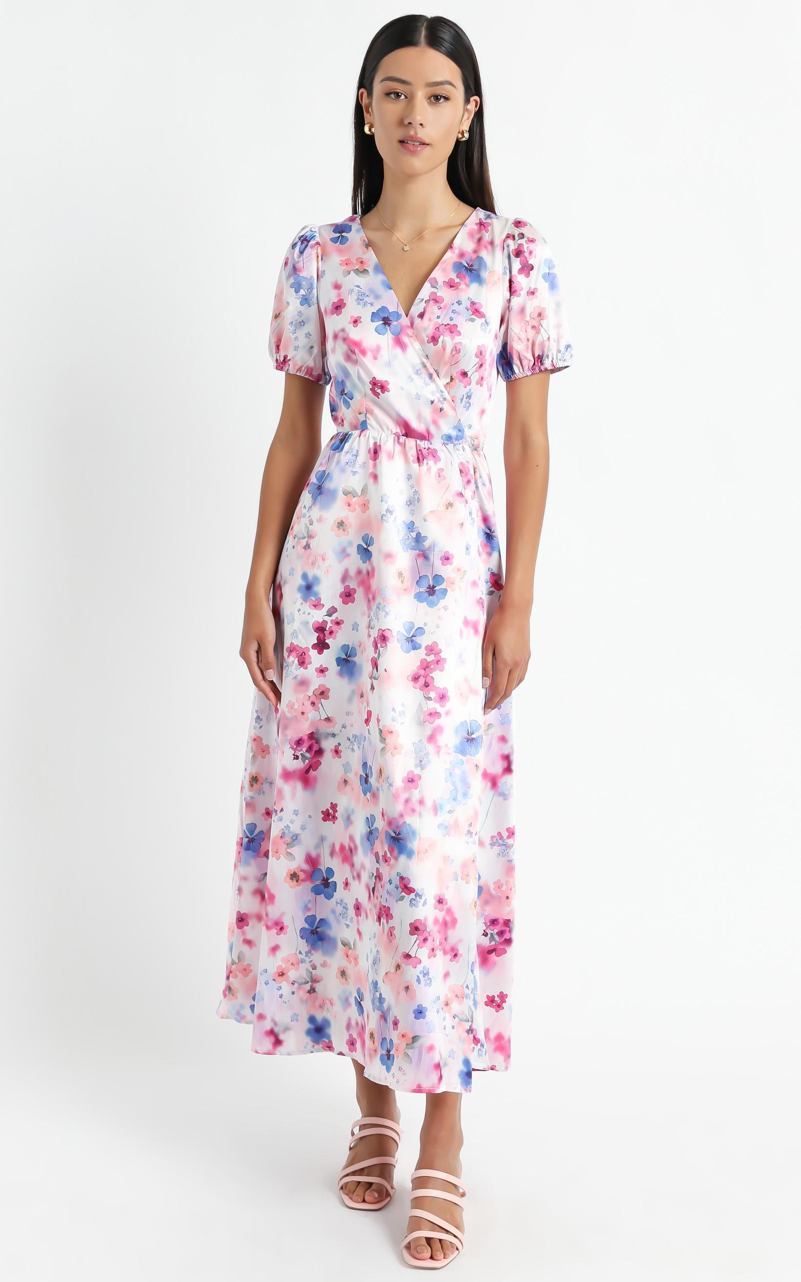 Kori Midi Dress in Blur Floral - 6 (XS), Multi, hi-res image number null