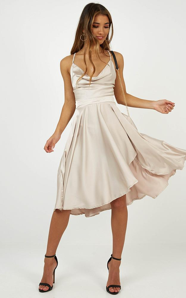 Something In The Water dress in champagne satin - 12 (L), Beige, hi-res image number null