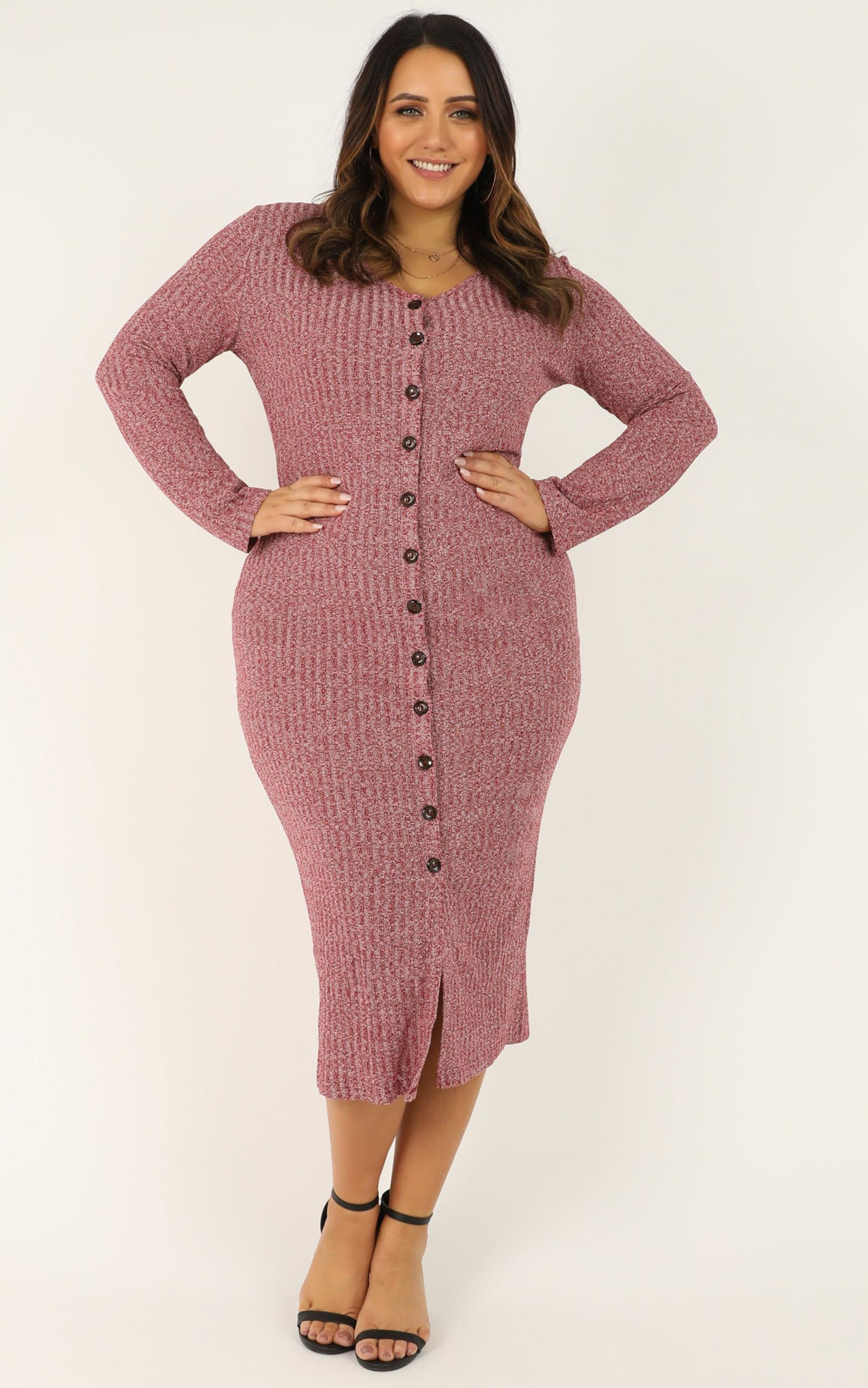 By The Bonfire Dress in wine marle - 4 (XXS), Wine, hi-res image number null