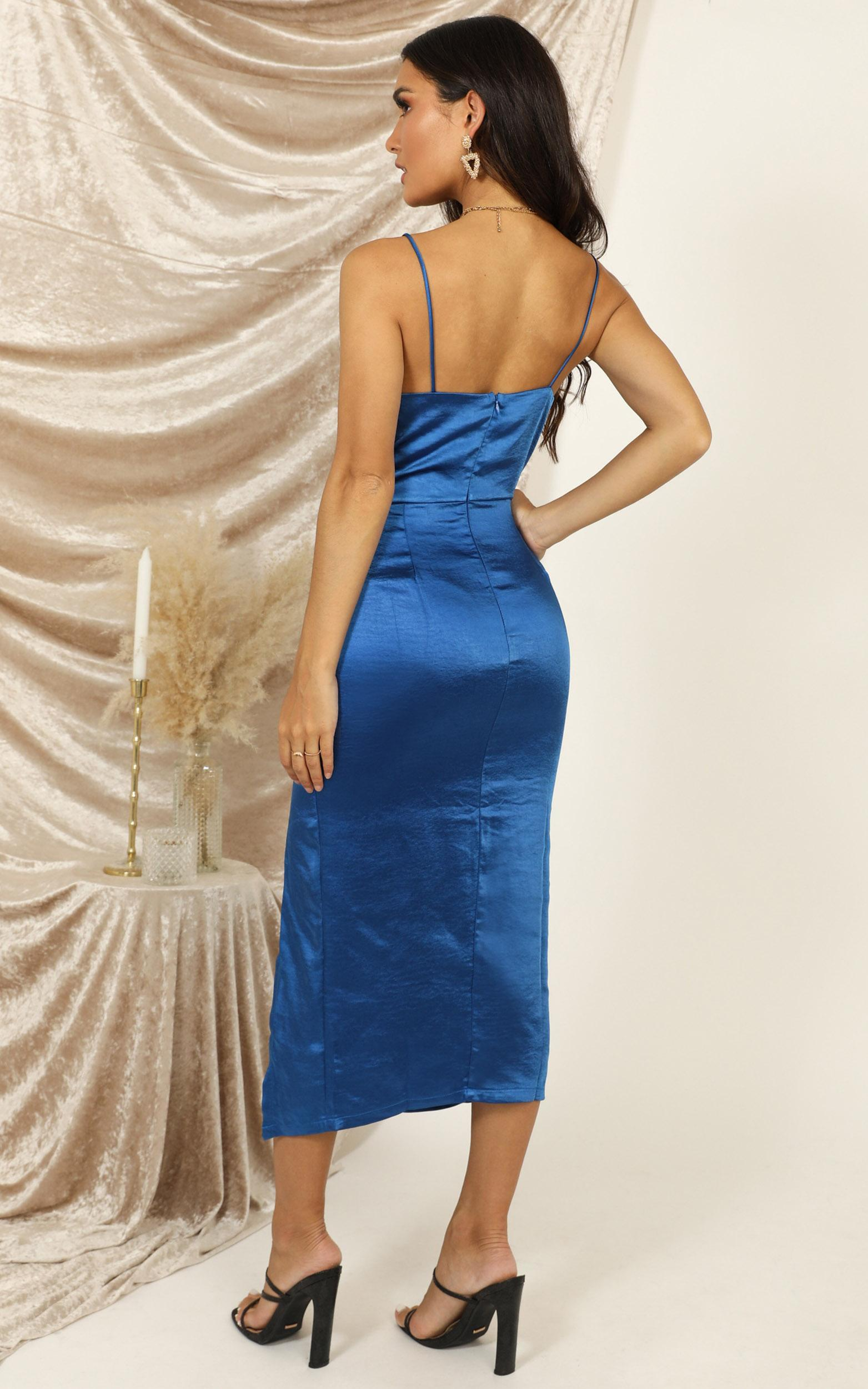 Shake The World dress in blue satin - 14 (XL), Blue, hi-res image number null