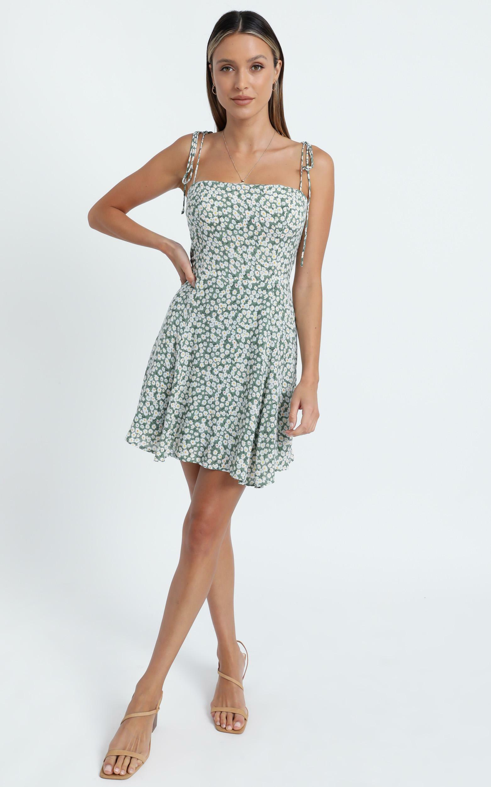 Roll With Me Dress in Sage Floral - 6 (XS), Sage, hi-res image number null