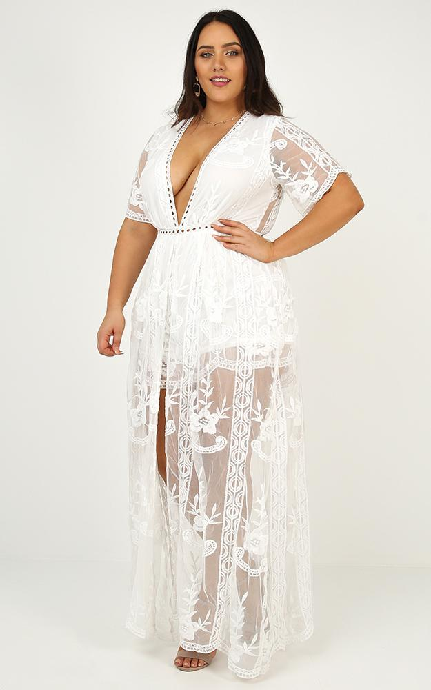 Lets Get Loud Maxi playsuit in white lace - 18 (XXXL), White, hi-res image number null