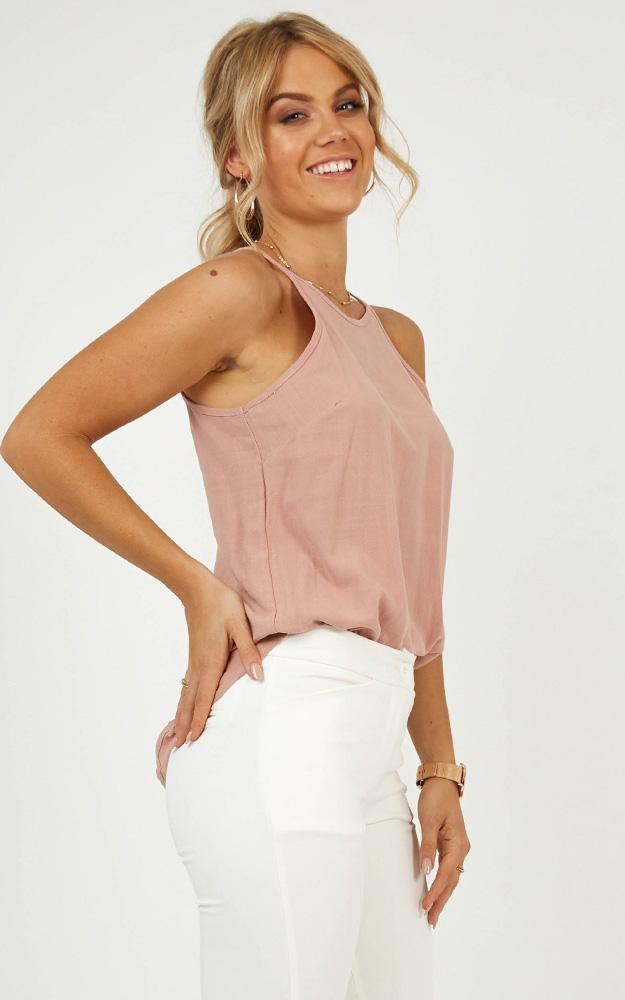 Work To Put It Right top in blush linen look, Blush, hi-res image number null