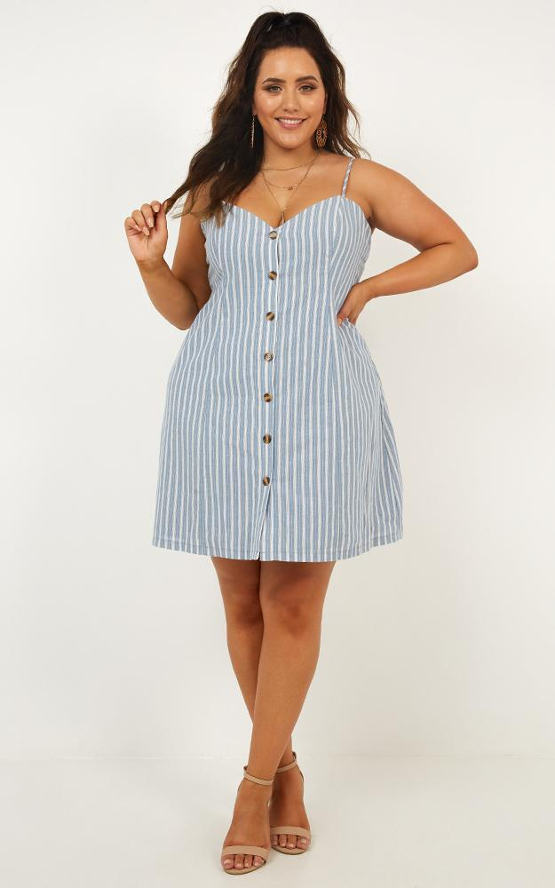 Thermal Spring Dress in blue stripe - 6 (XS), Blue, hi-res image number null