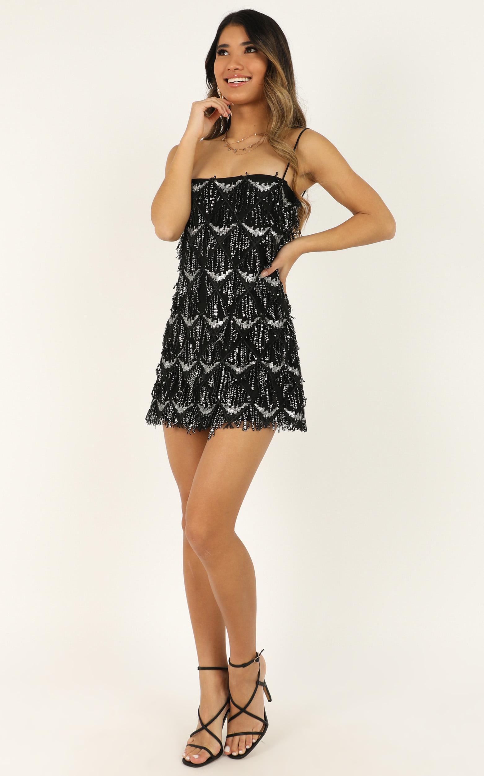 Shook dress in black sequin - 14 (XL), Black, hi-res image number null