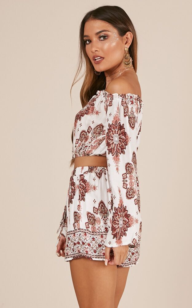 Dance All Day Two Piece Set in white paisley print - 4 (XXS), White, hi-res image number null
