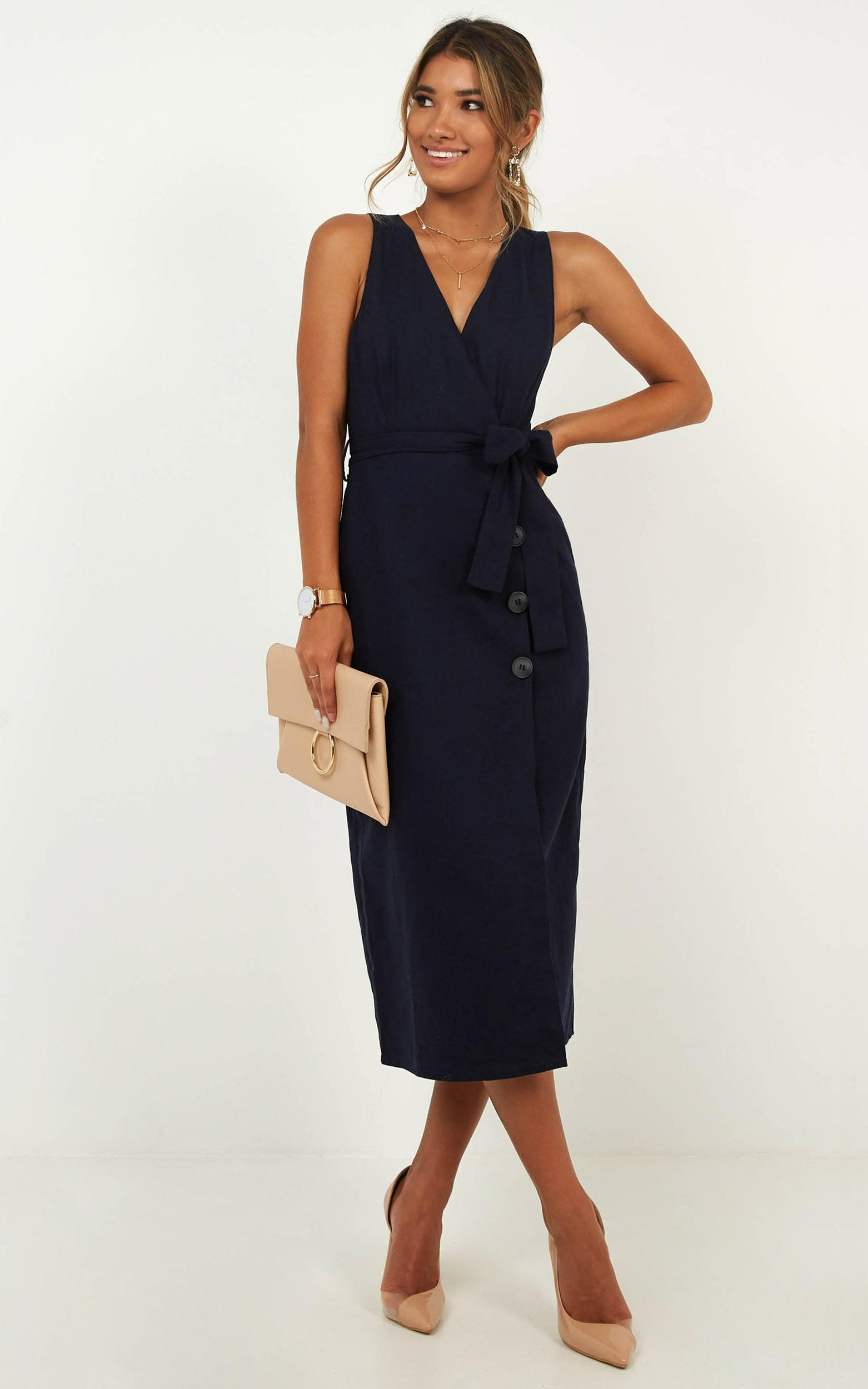Out Of Office Dress in navy linen look - 20 (XXXXL), Navy, hi-res image number null