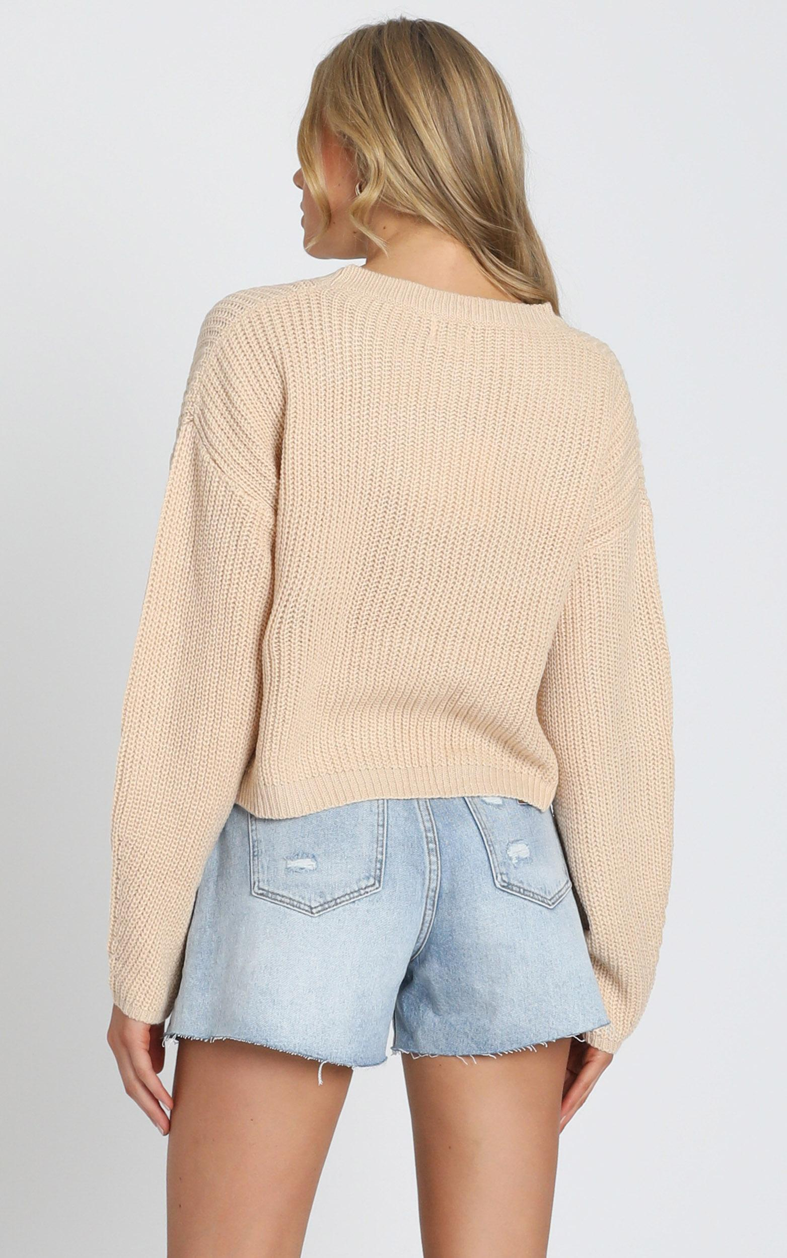 Frankie Cropped Boxy Knit in Mocha - S/M, Mocha, hi-res image number null