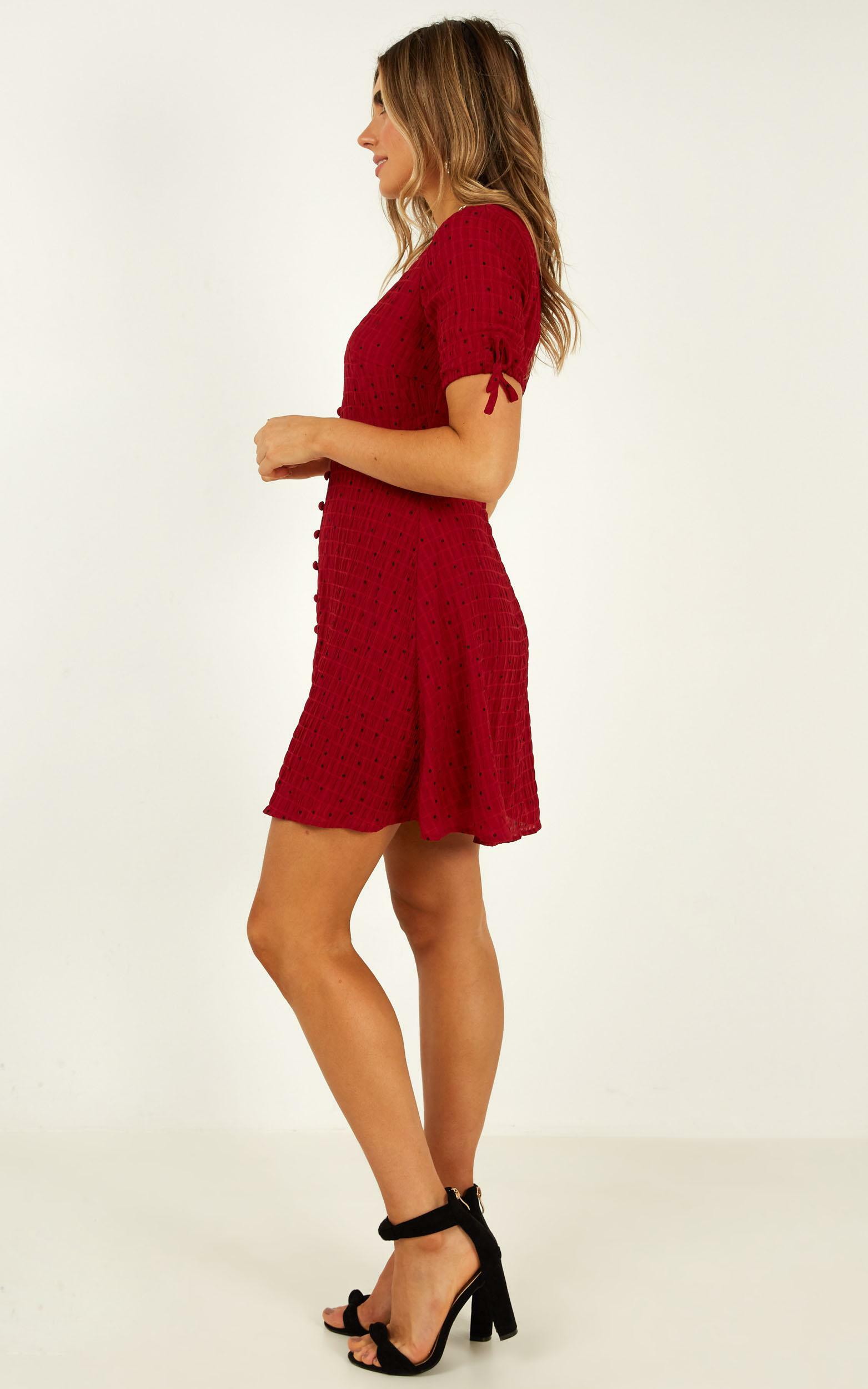 New Feeling Dress in wine spot - 12 (L), Wine, hi-res image number null