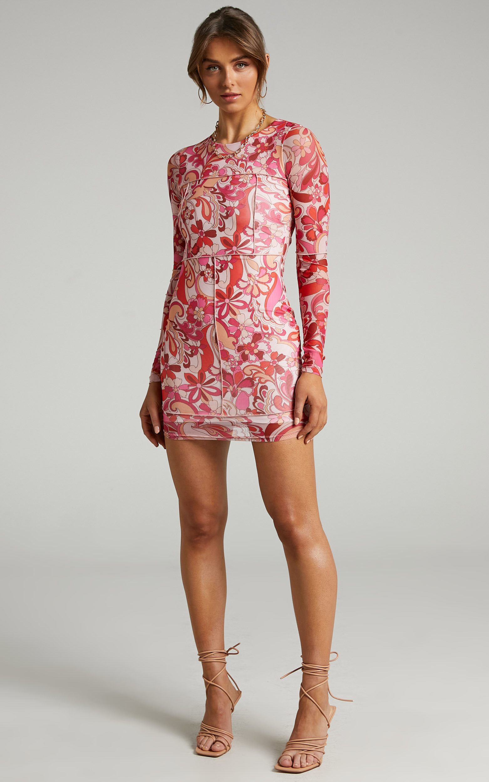 Anakin Long sleeve Mesh Mini dress in Love Child - 06, PNK1, hi-res image number null