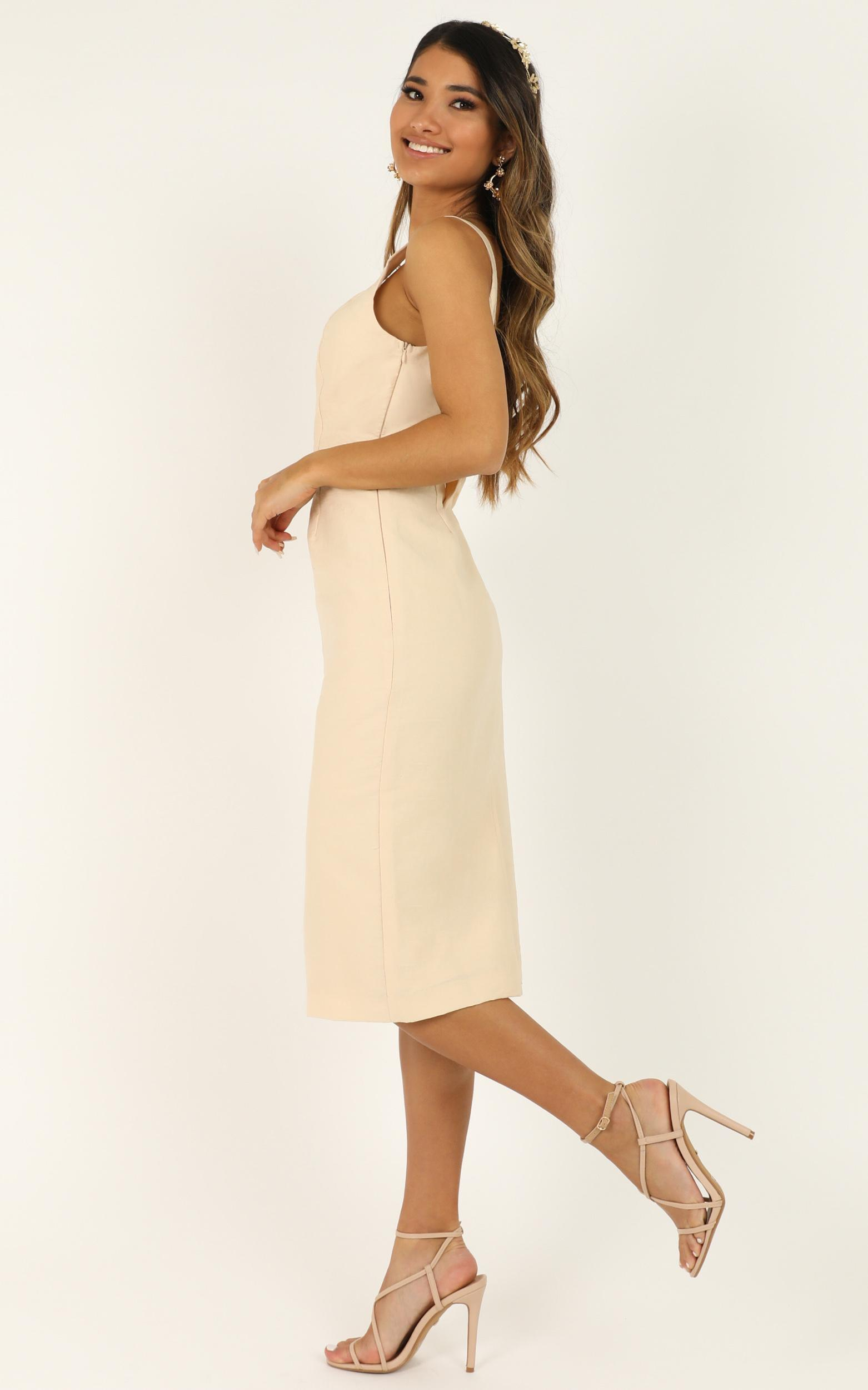 Beauty And The Bow Dress in cream- 14 (XL), Cream, hi-res image number null