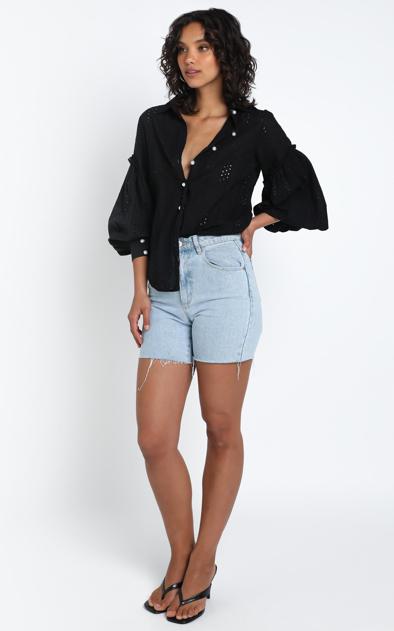 Beautiful Things Embroidery Shirt in Black - 14 (XL), BLK1, hi-res image number null