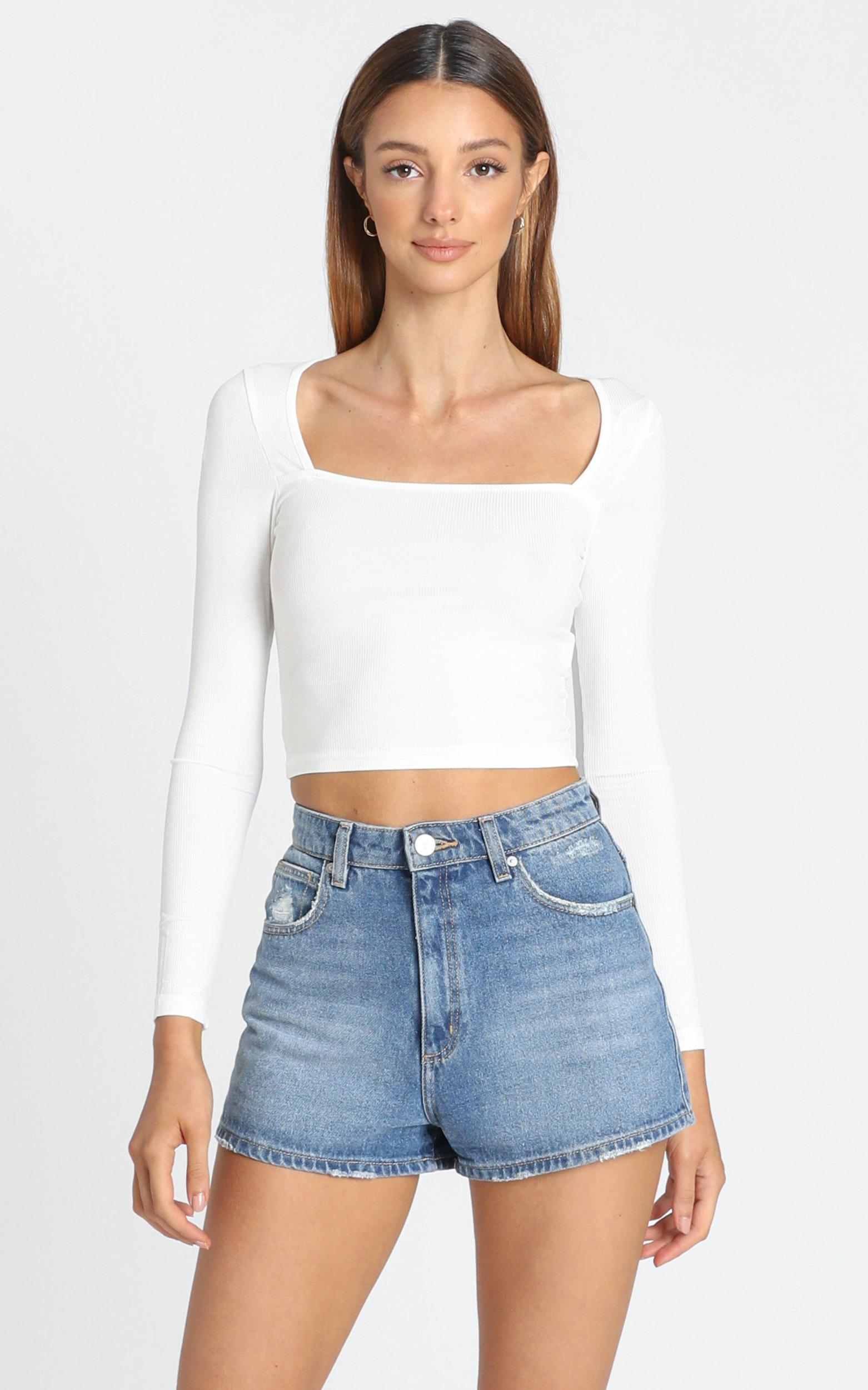 Daisie Square Neck Top in White - 6 (XS), White, hi-res image number null