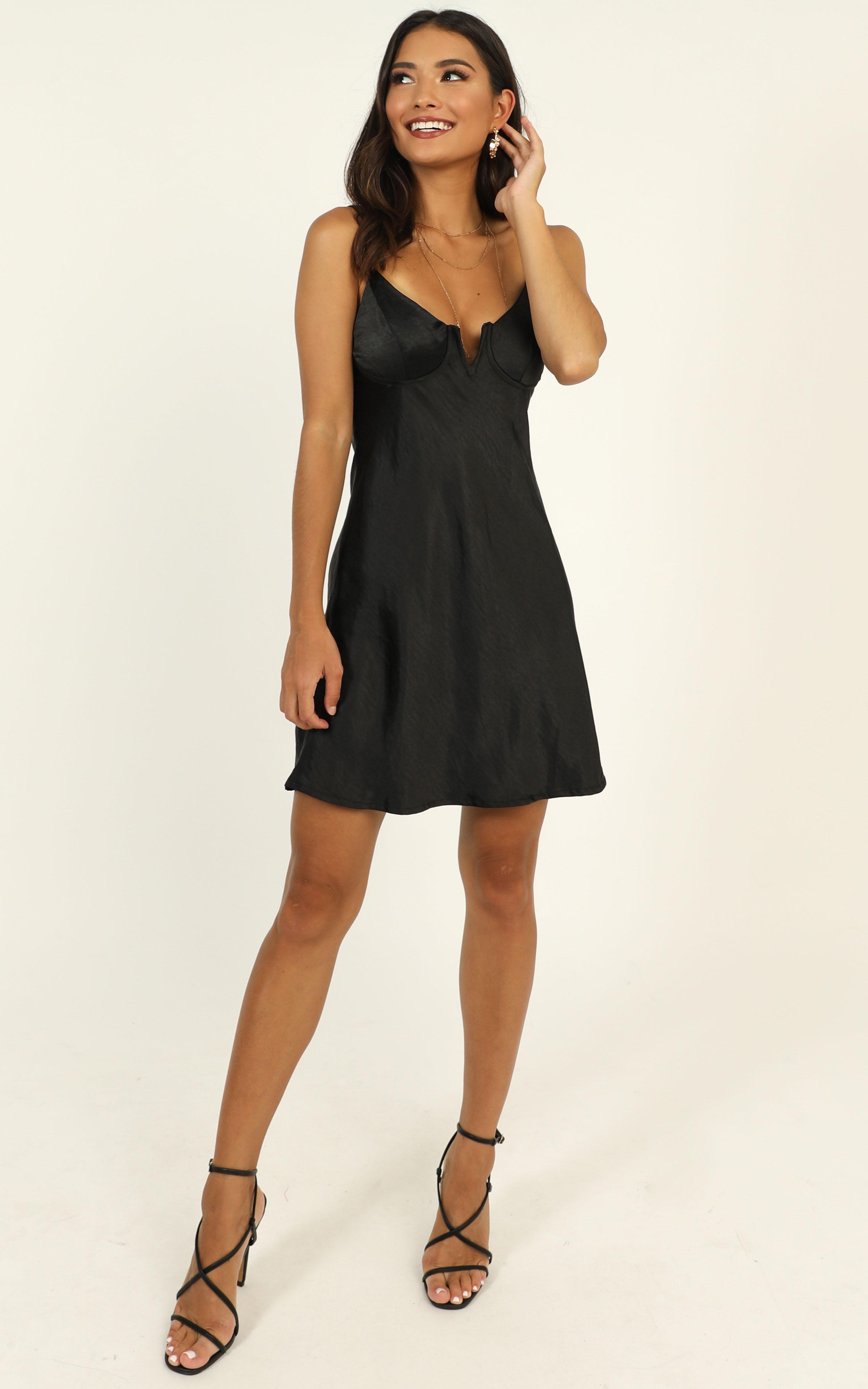 Pretty Persuasive Dress in black satin - 12 (L), Black, hi-res image number null
