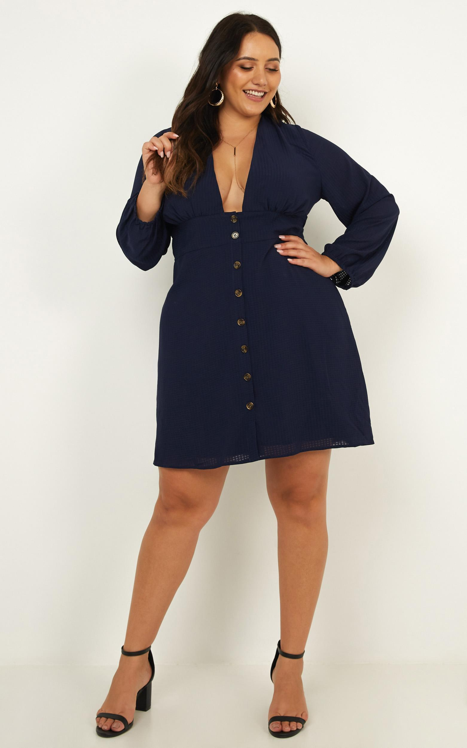 On a Wave Dress in navy chiffon check - 14 (XL), Navy, hi-res image number null