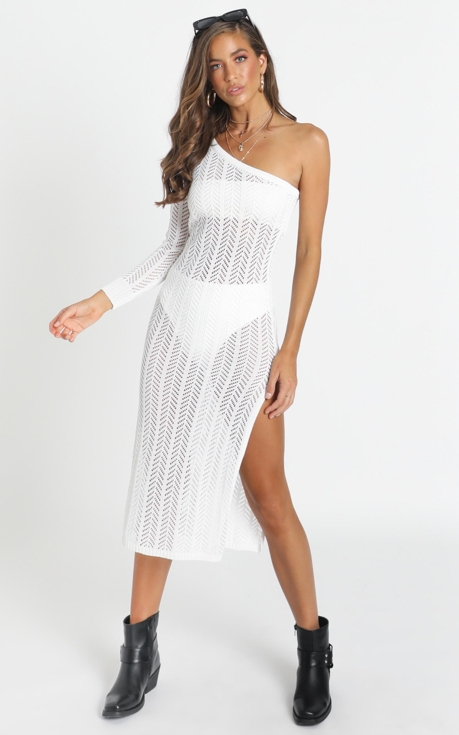 Drop Your Love Knit Dress in white - 20 (XXXXL), White, hi-res image number null