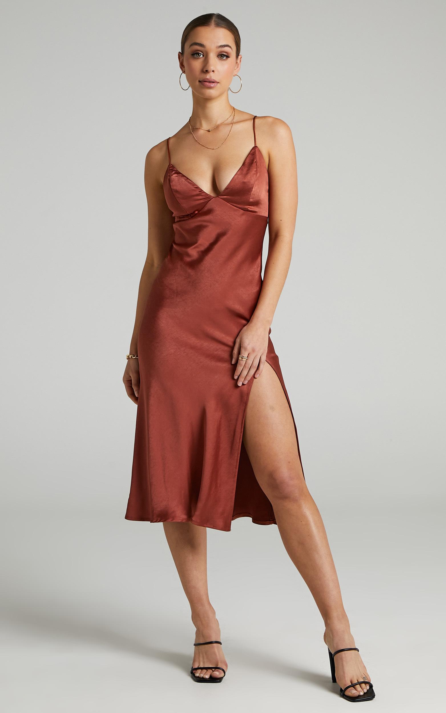 Joahanna Satin Slip Dress in Rust - 06, BRN1, hi-res image number null
