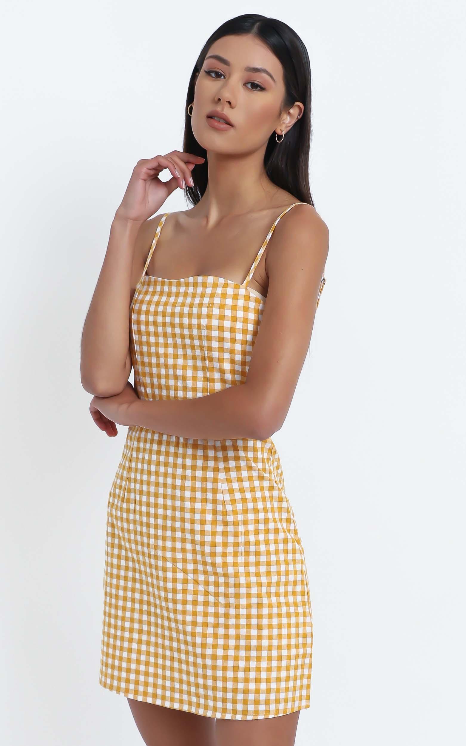 Ali Dress in Mustard Gingham Check - 12 (L), Mustard, hi-res image number null