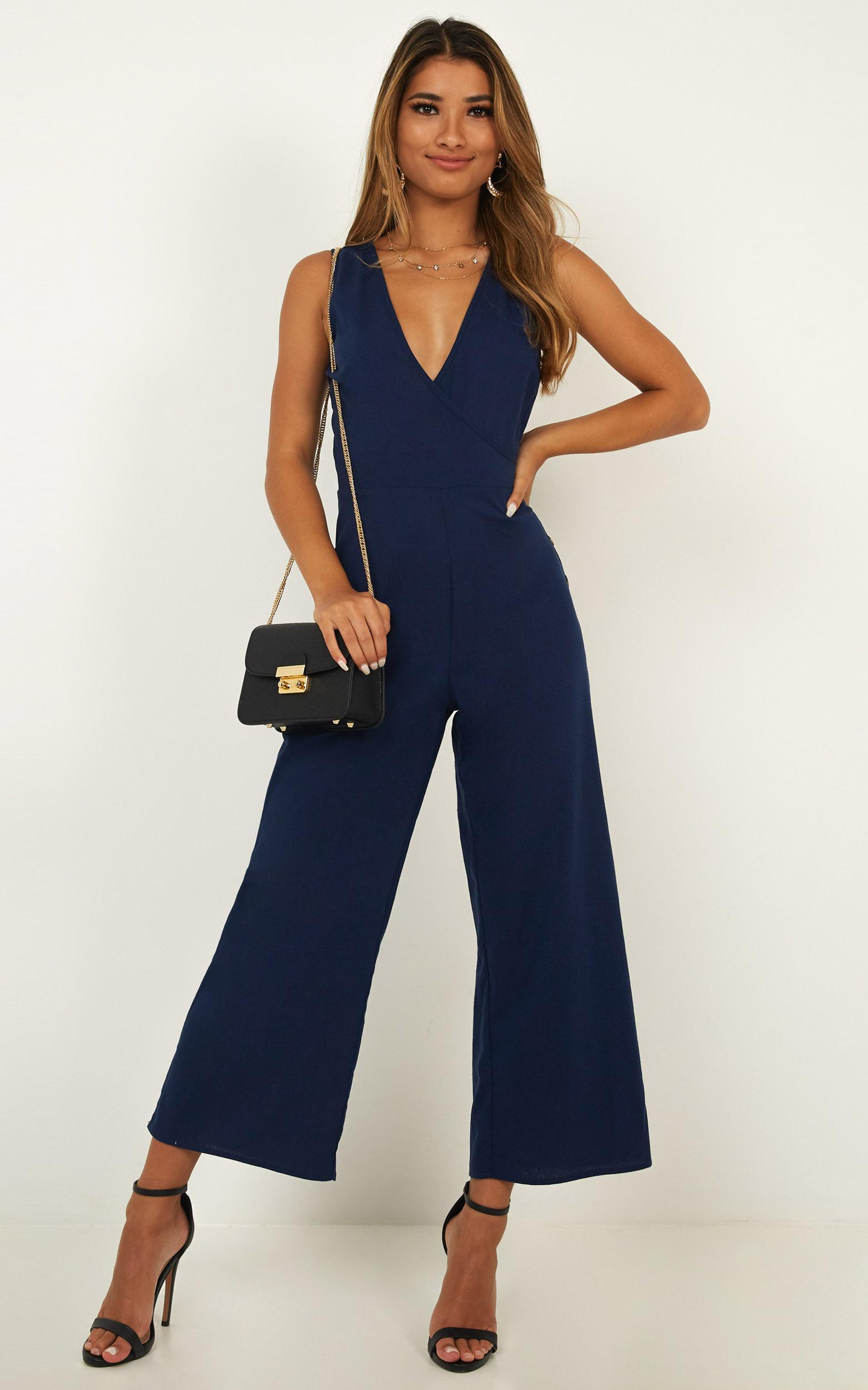 Clear As Crystal Jumpsuit in navy linen look - 16 (XXL), Navy, hi-res image number null