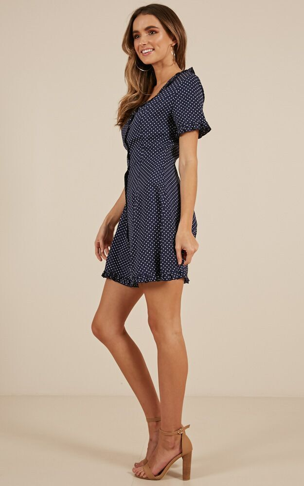 Level With Me dress in navy spot, Navy, hi-res image number null
